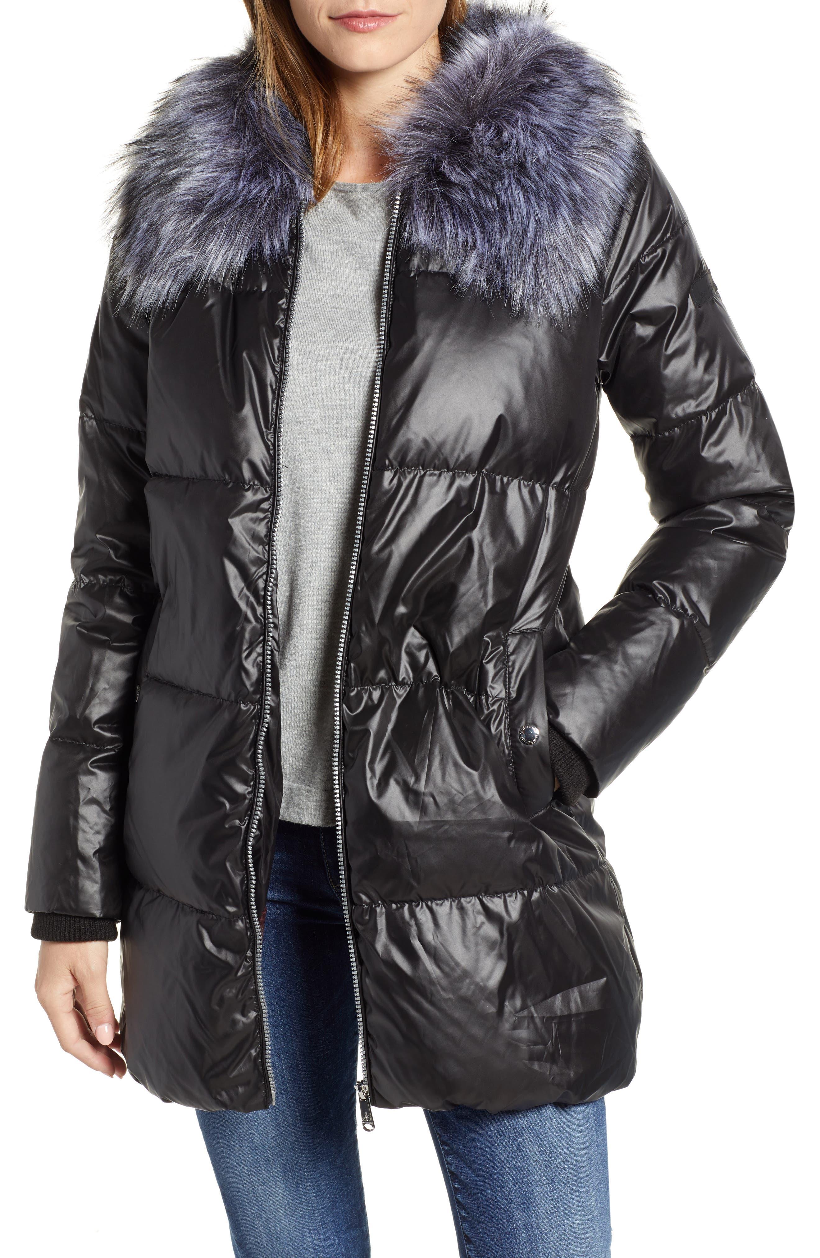 SAM EDELMAN Cire Faux Fur Trim Down Quilted Coat, Main, color, BLACK