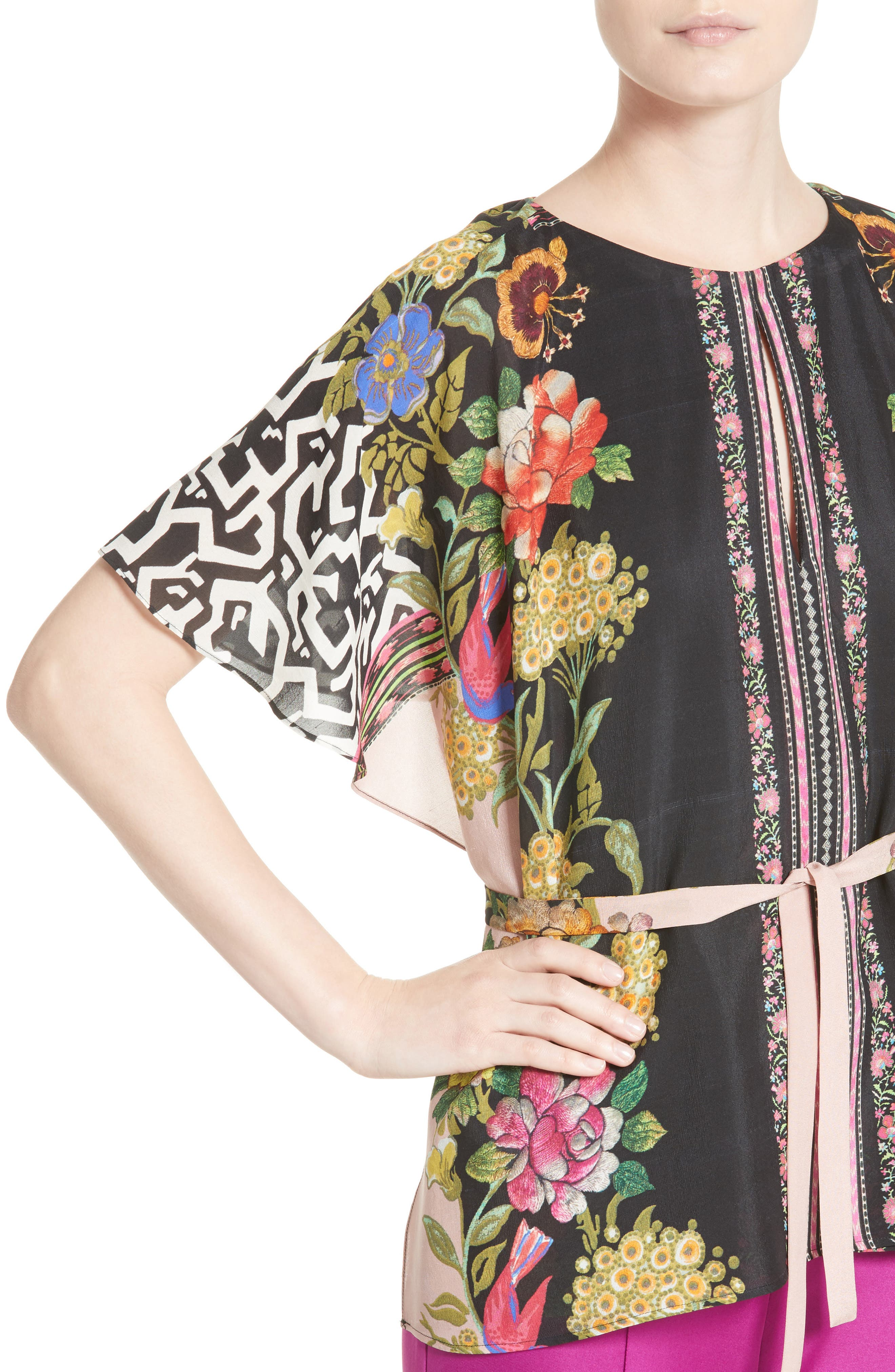 Floral & Maze Print Silk Blouse,                             Alternate thumbnail 4, color,                             650