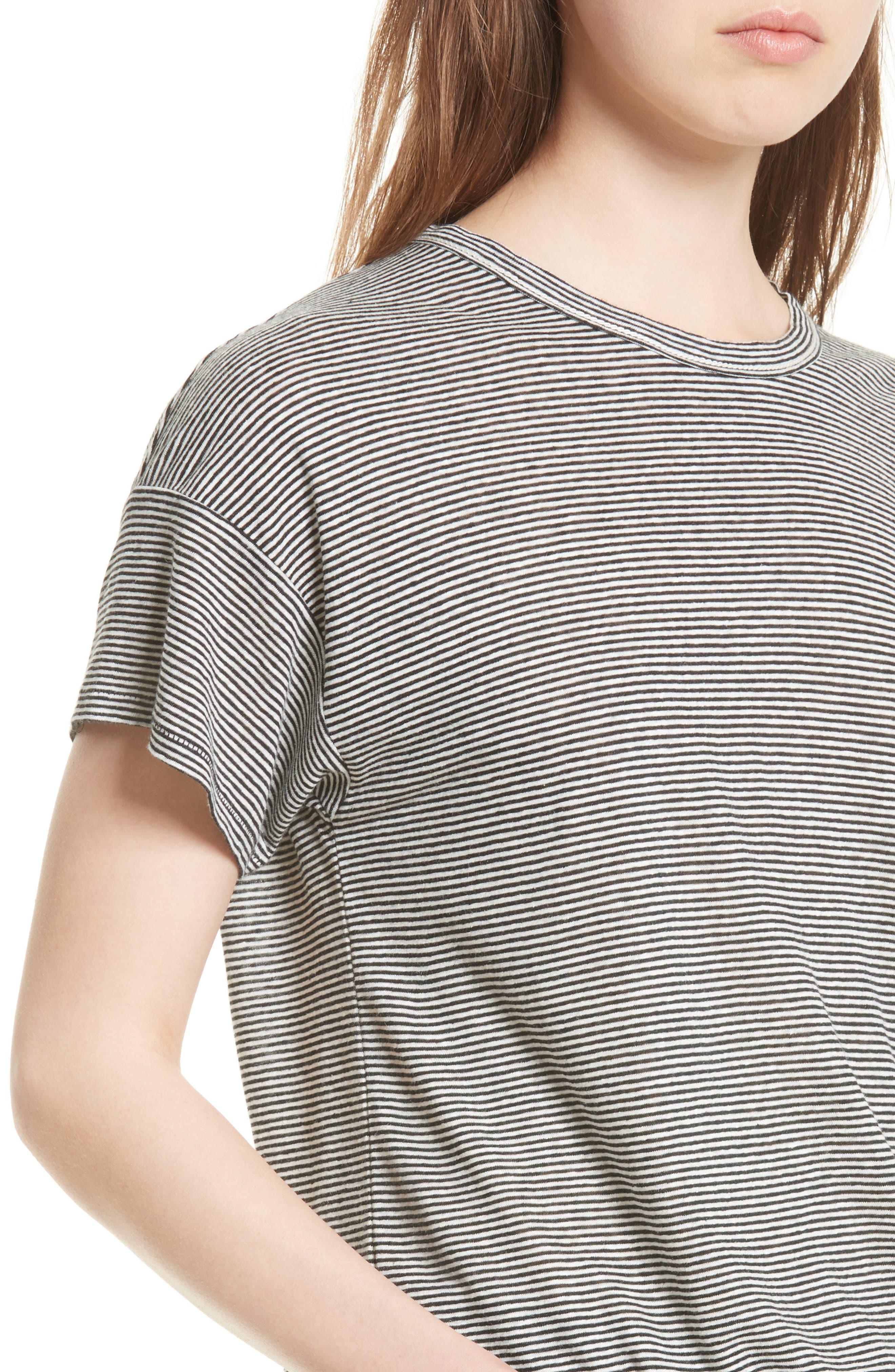 Stripe Linen Blend Tee,                             Alternate thumbnail 4, color,                             176