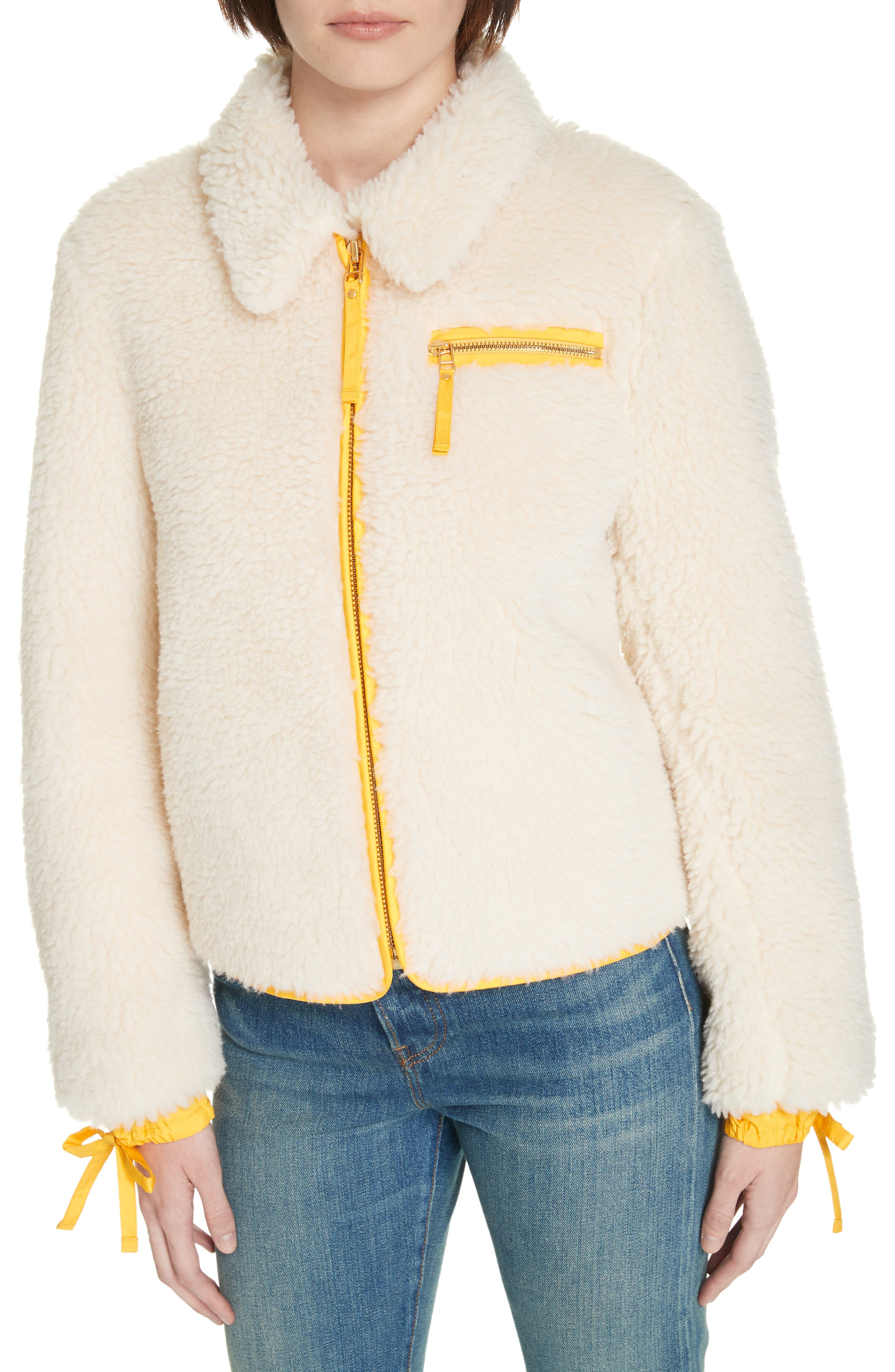 Faux Shearling Jacket,                             Alternate thumbnail 4, color,                             NEW IVORY