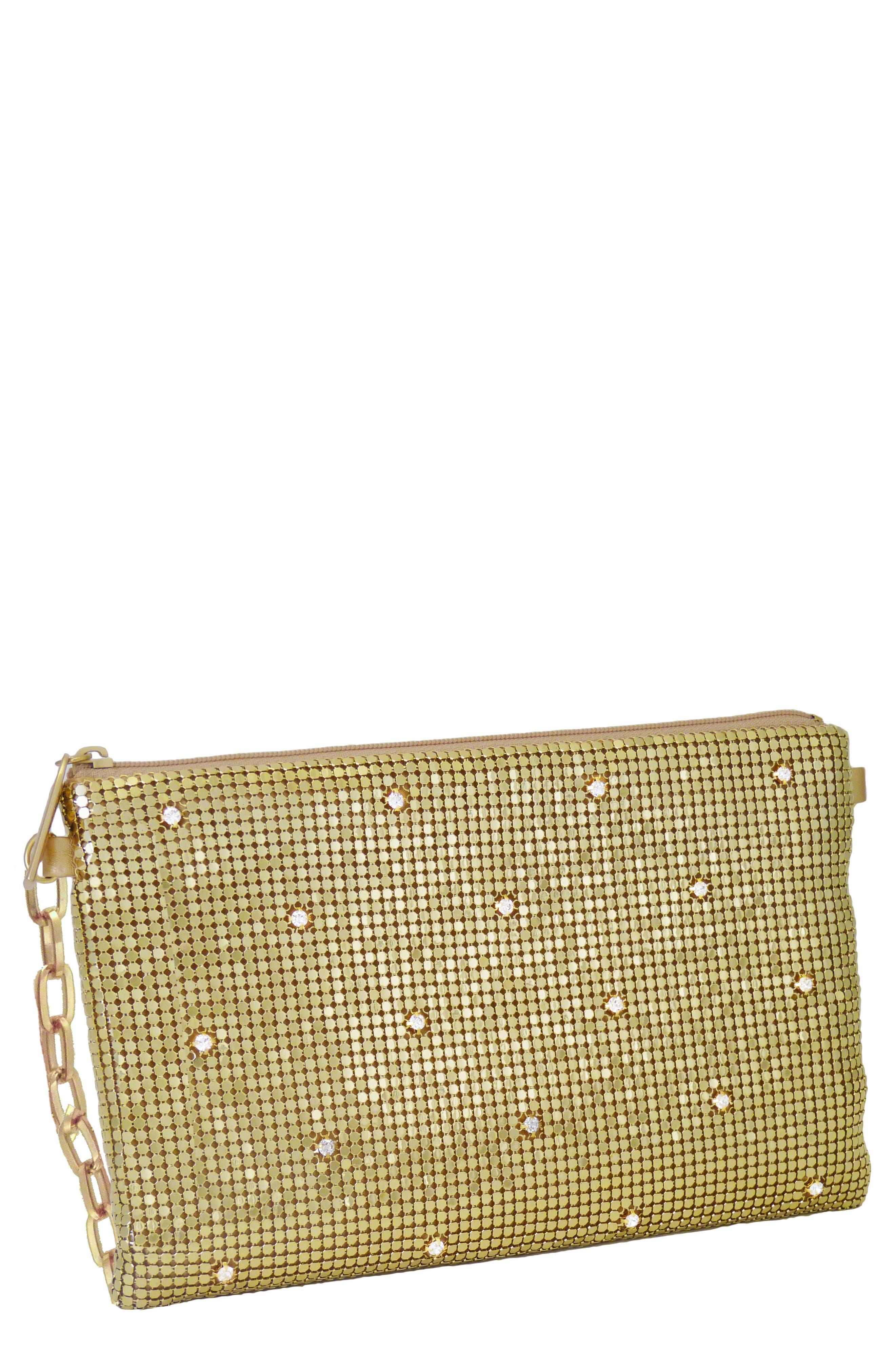 WHITING & DAVIS Crystal Belt Bag - Metallic in Gold
