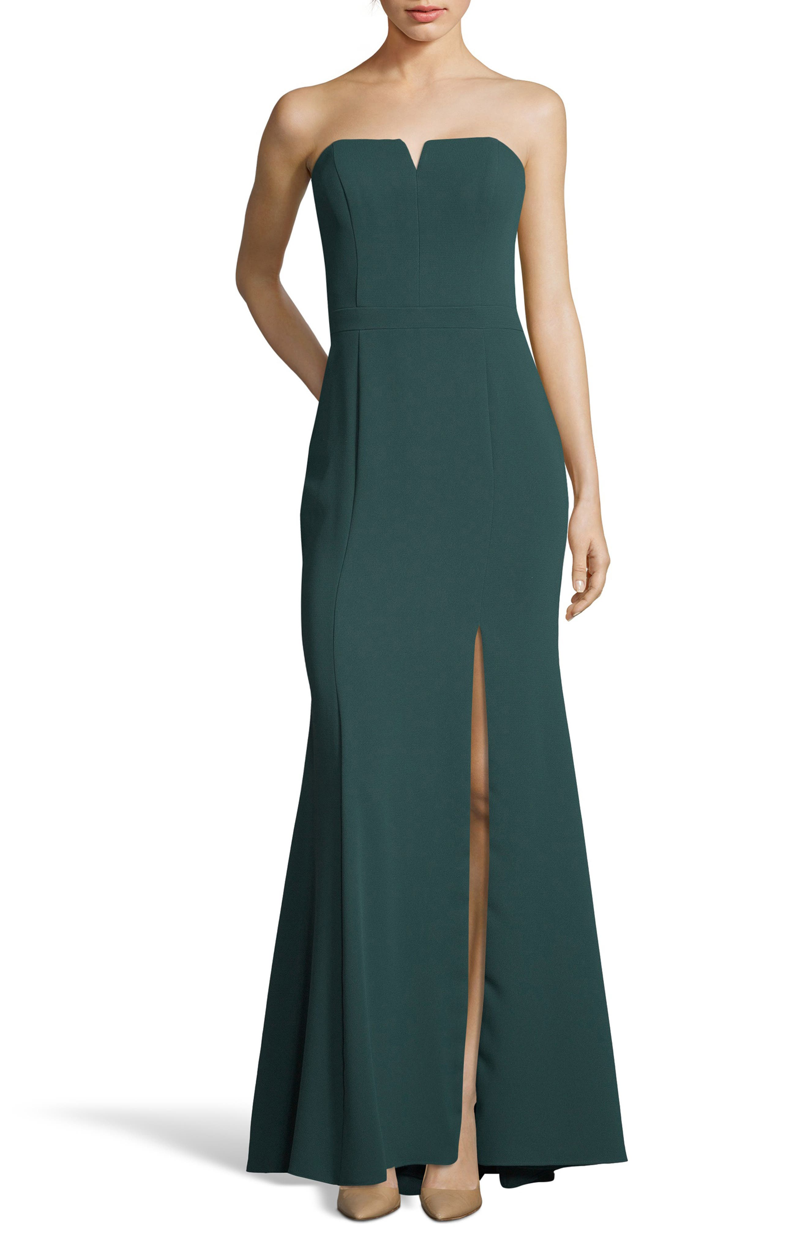 Strapless Crepe Trumpet Gown,                             Main thumbnail 1, color,                             HUNTER