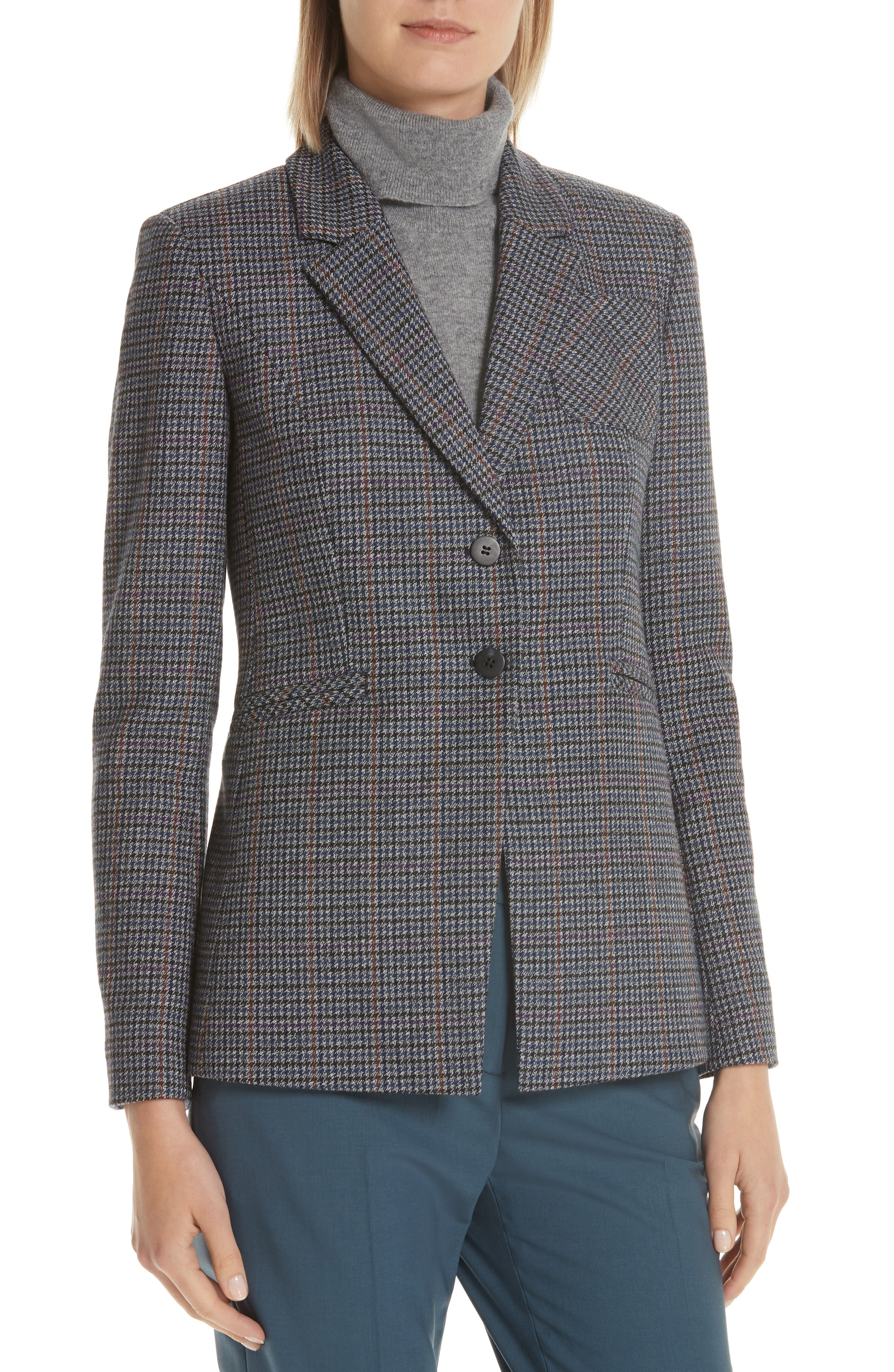 Elbow Patch Plaid Blazer,                             Alternate thumbnail 4, color,                             NAVY NIGHT HOUNDSTOOTH