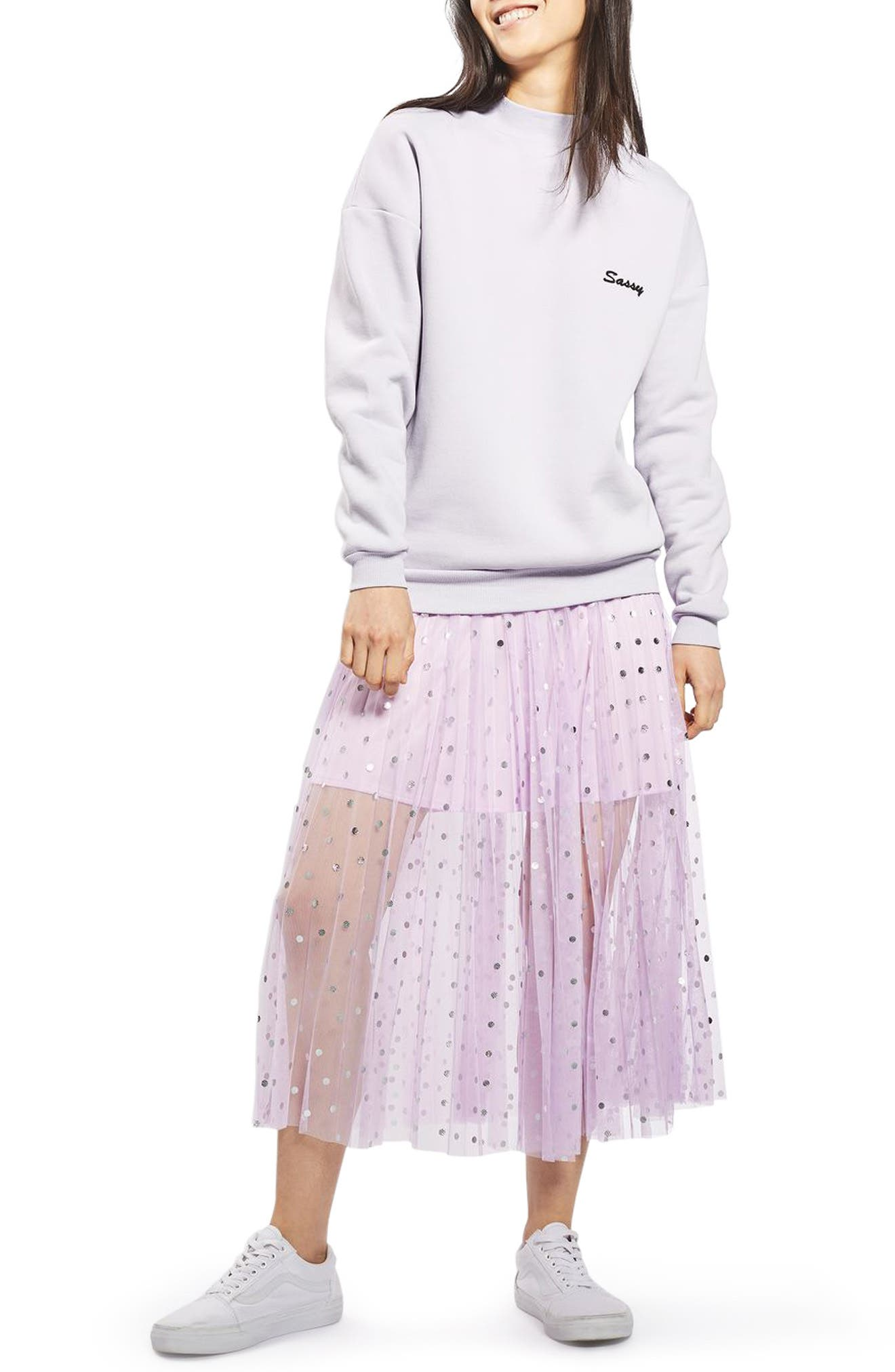 Foil Dot Pleat Midi Skirt,                             Main thumbnail 1, color,                             530