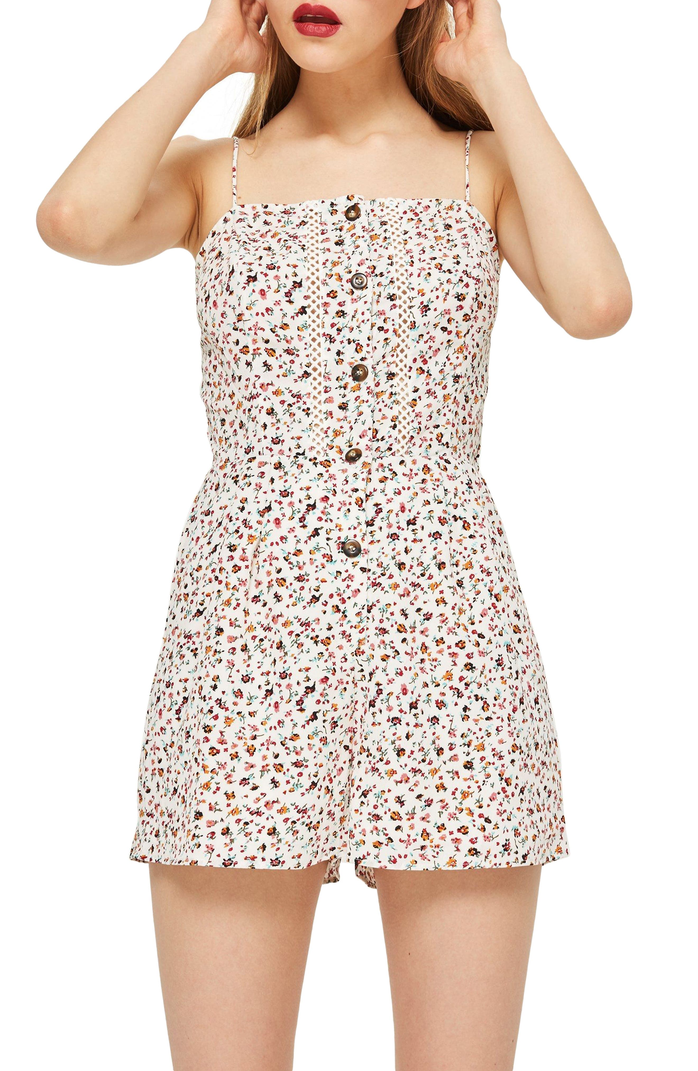 Ditsy Crochet Romper,                             Main thumbnail 1, color,                             900
