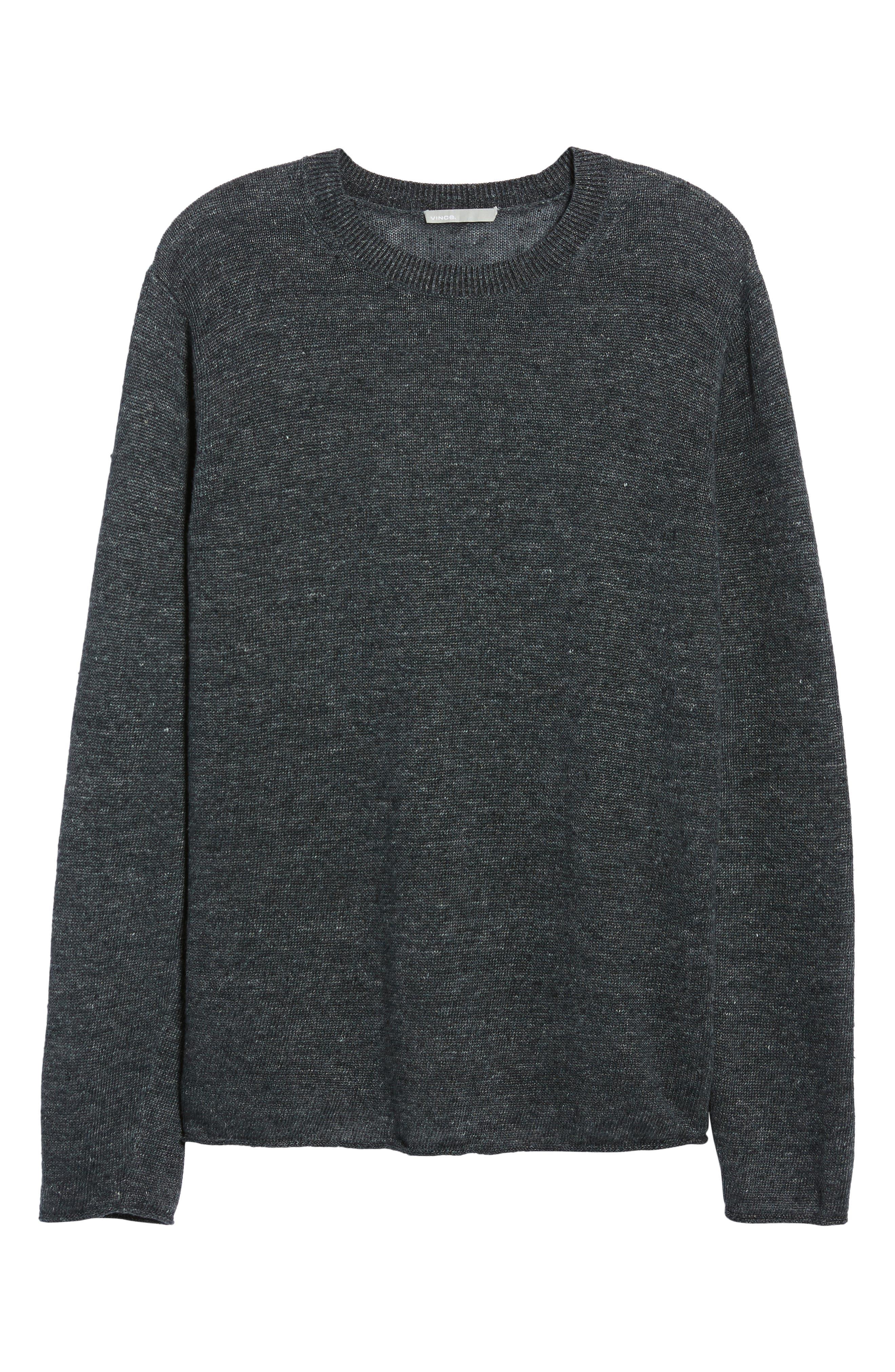 Slim Fit Linen Crewneck Sweater,                             Alternate thumbnail 6, color,                             001