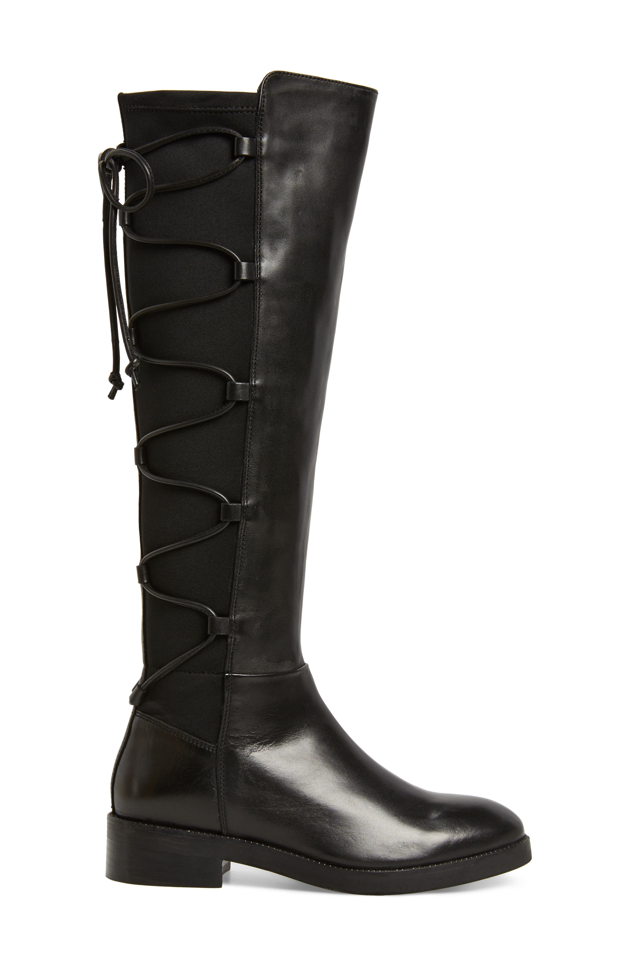 Dramatic Stretch Back Riding Boot,                             Alternate thumbnail 3, color,                             001