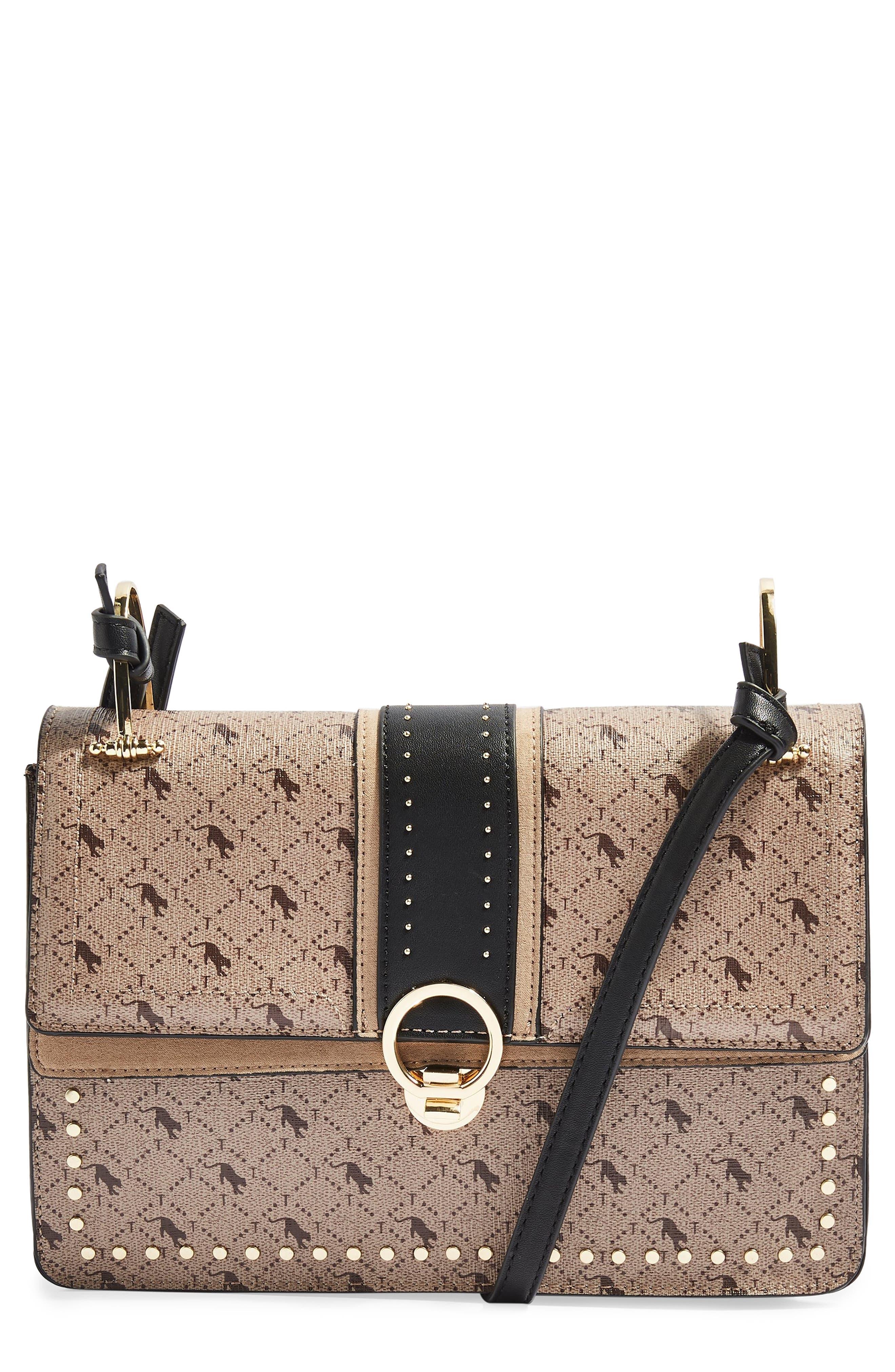 Madrid Studded Faux Leather Shoulder Bag,                         Main,                         color, TAUPE MULTI