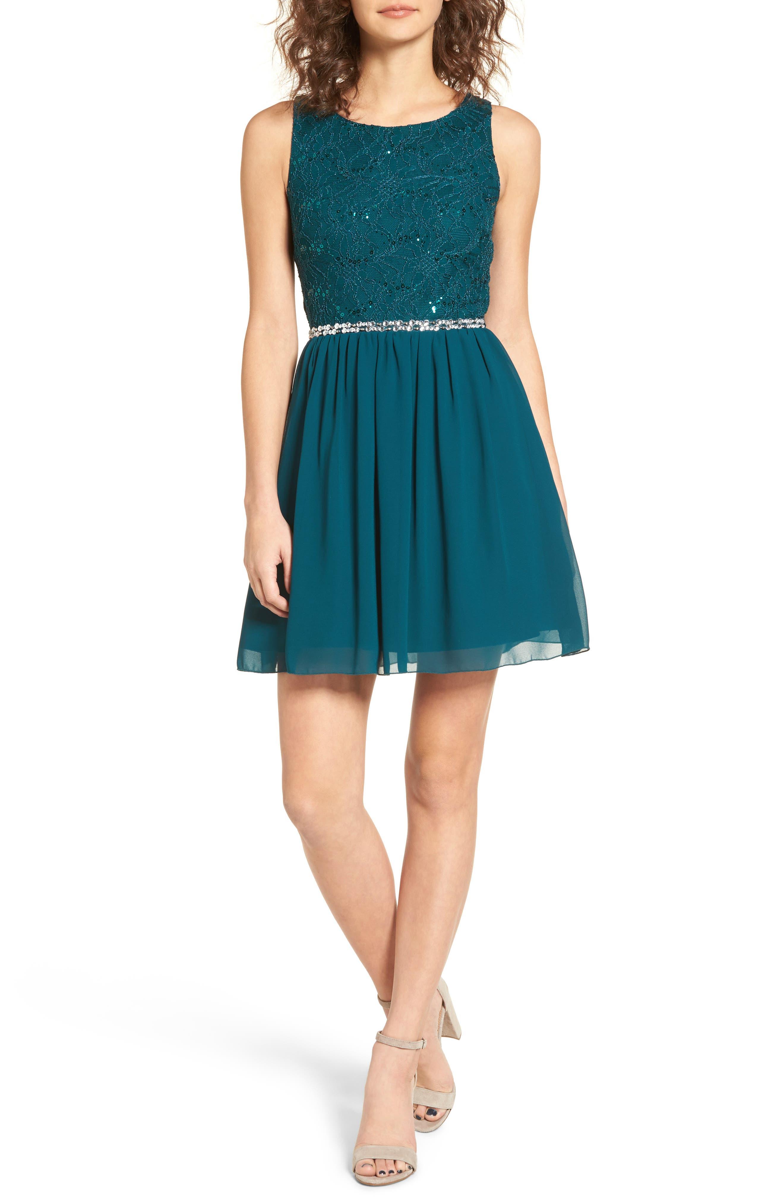 Jeweled Belt Dress,                             Main thumbnail 1, color,