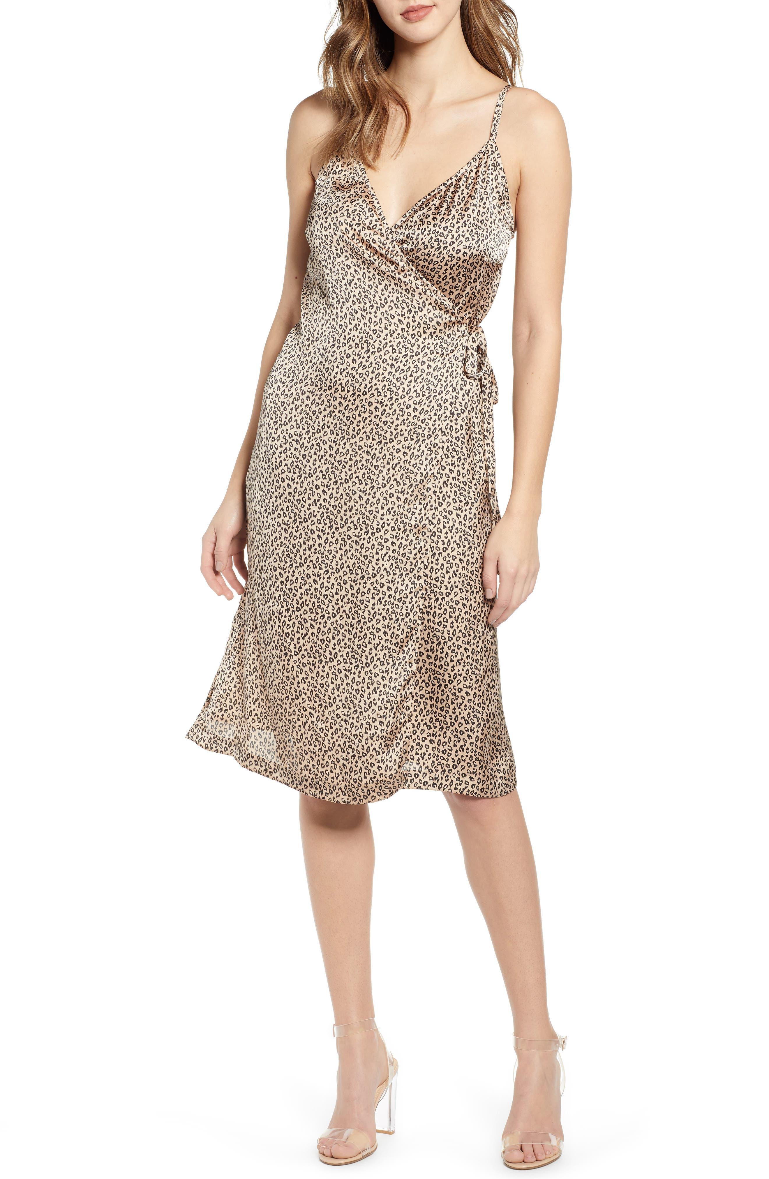 Leith Everyday Satin Wrap Dress, Brown