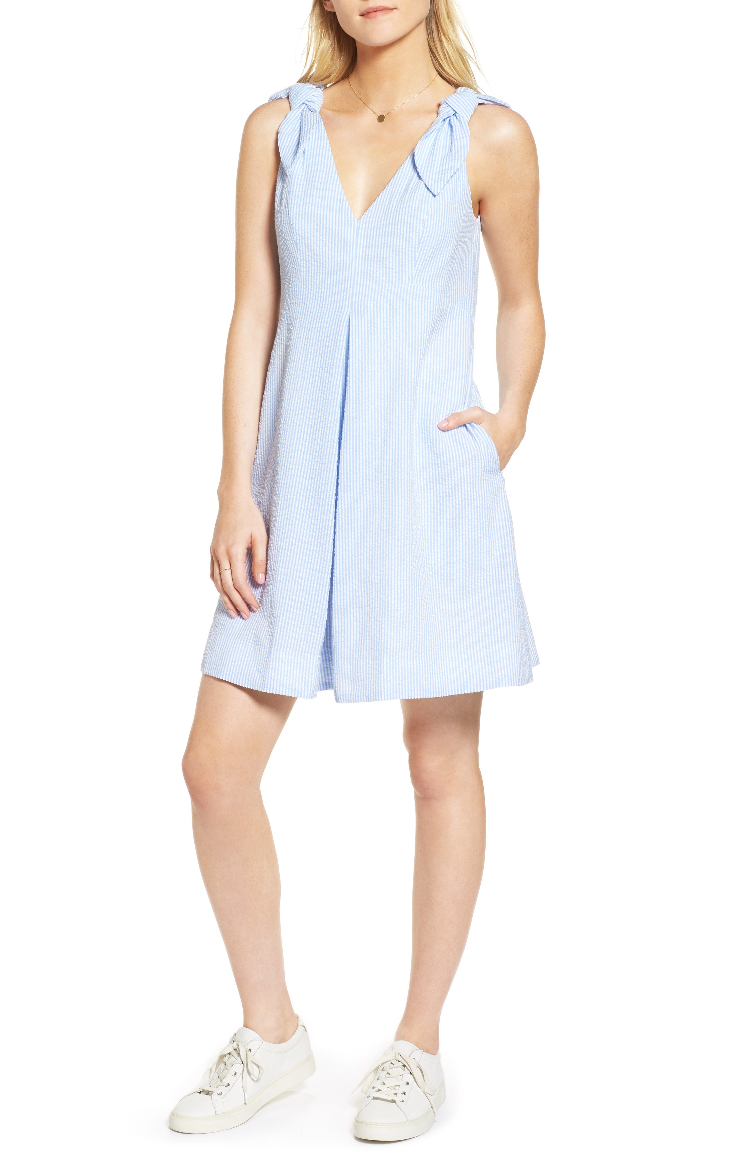 Bow Seersucker Dress,                         Main,                         color, 420