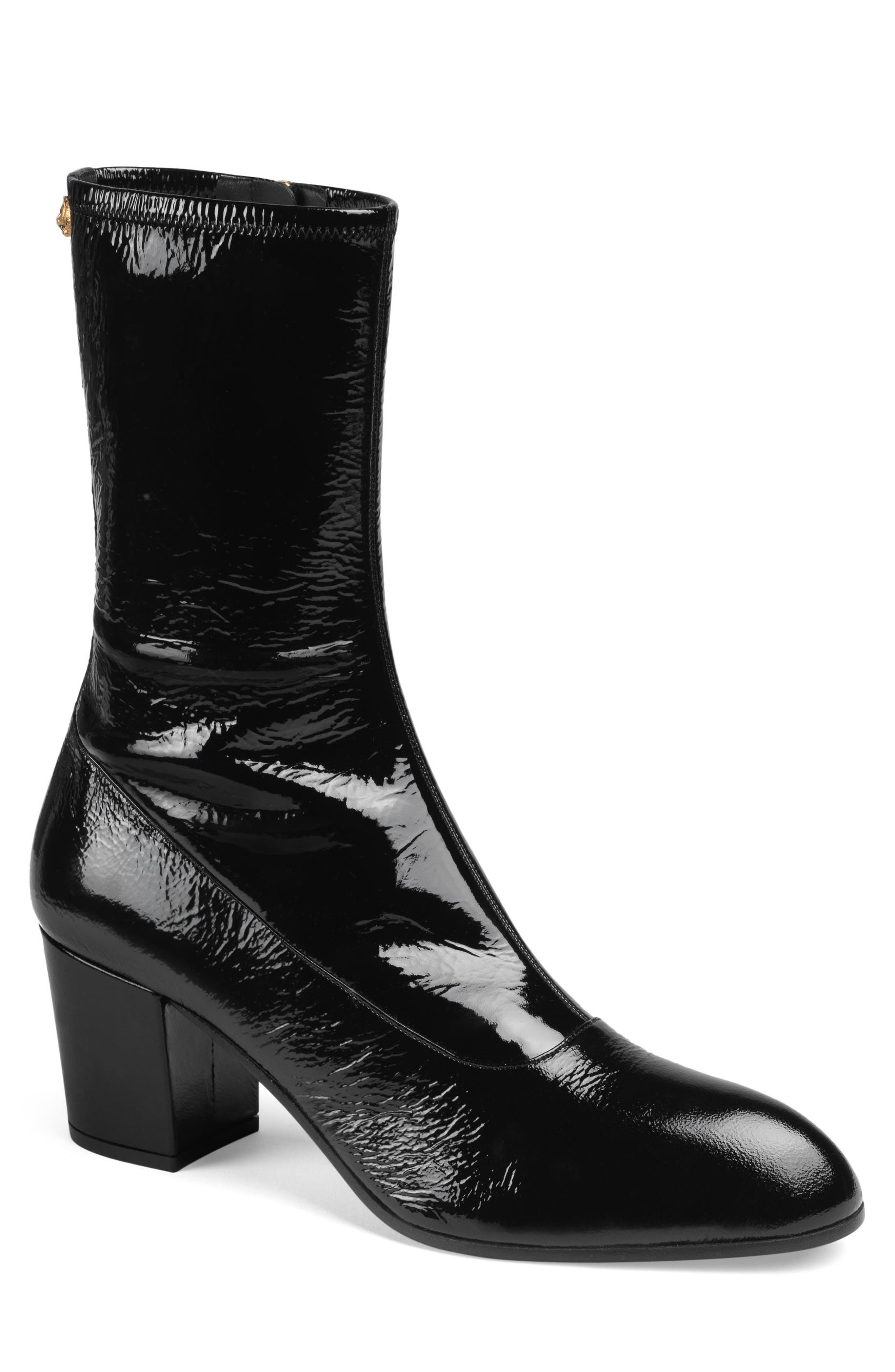 Gucci Printyl Patent Leather Zip Boot, Black
