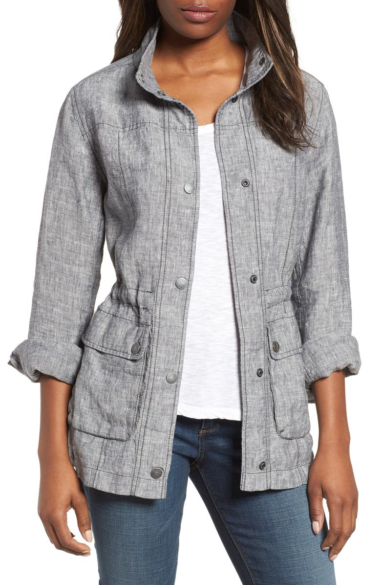 Caslon 174 Cinch Waist Linen Utility Jacket Regular Amp Petite
