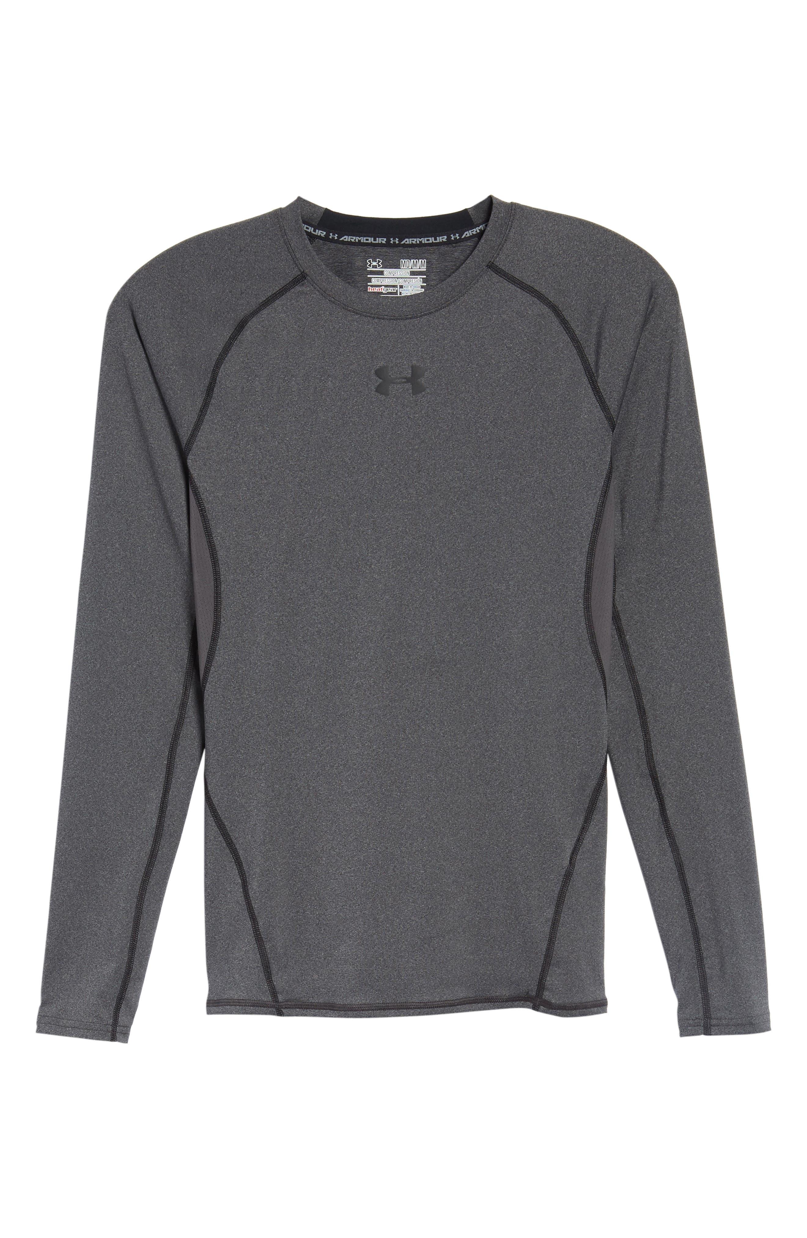 HeatGear<sup>®</sup> Compression Fit Long Sleeve T-Shirt,                             Alternate thumbnail 6, color,                             CARBON HEATHER/ BLACK