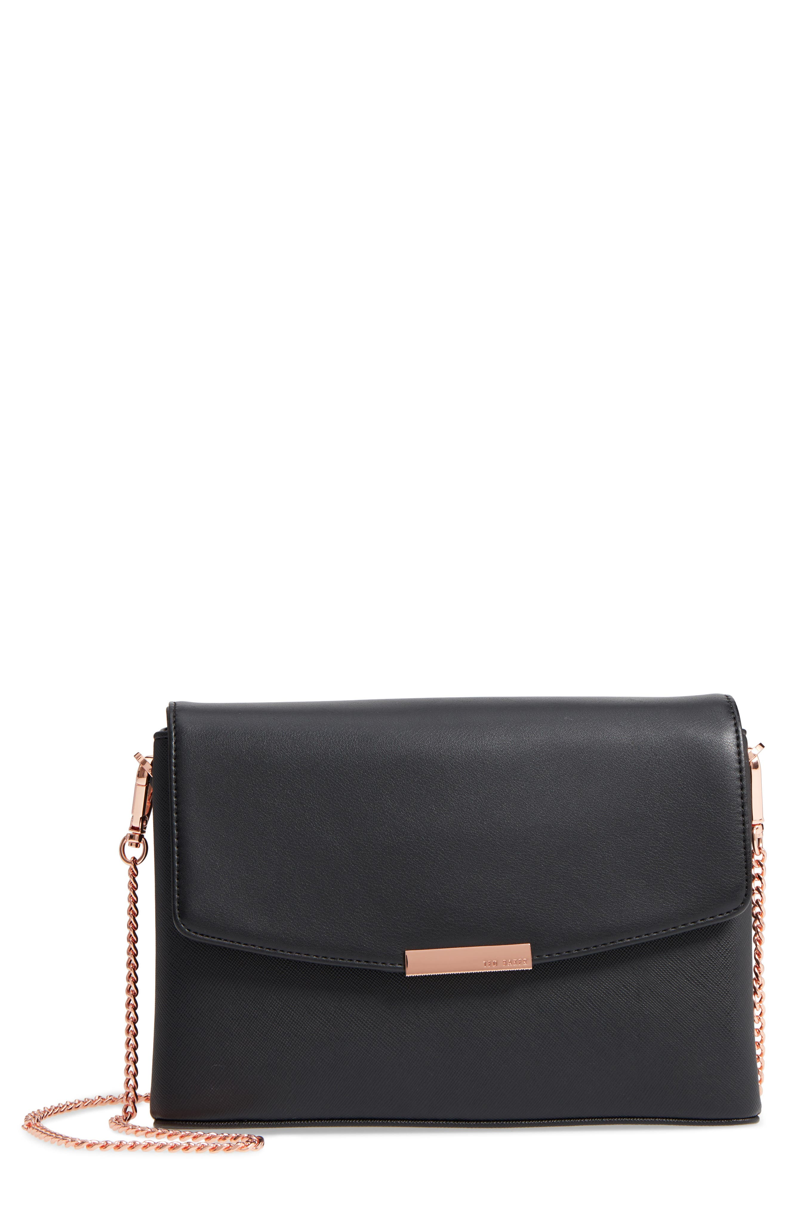 Faux Leather Crossbody Bag,                         Main,                         color, BLACK