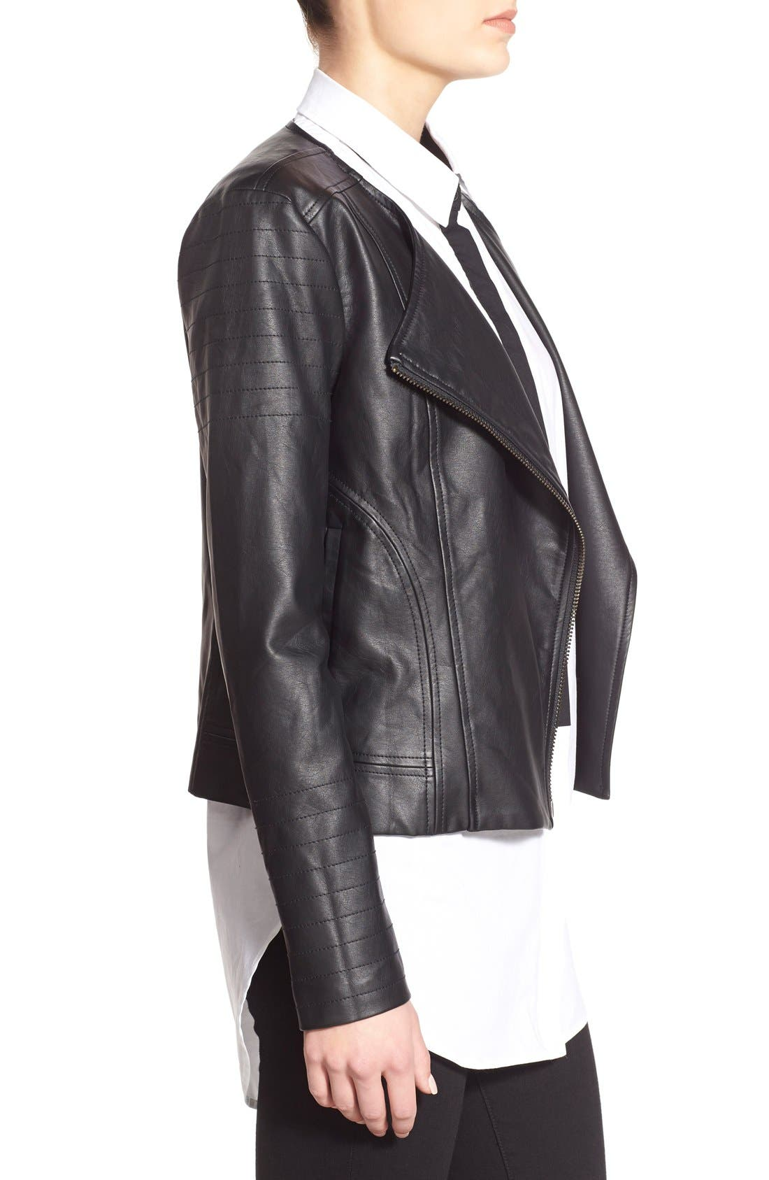 'Helena' Faux Leather Jacket,                             Alternate thumbnail 6, color,                             001