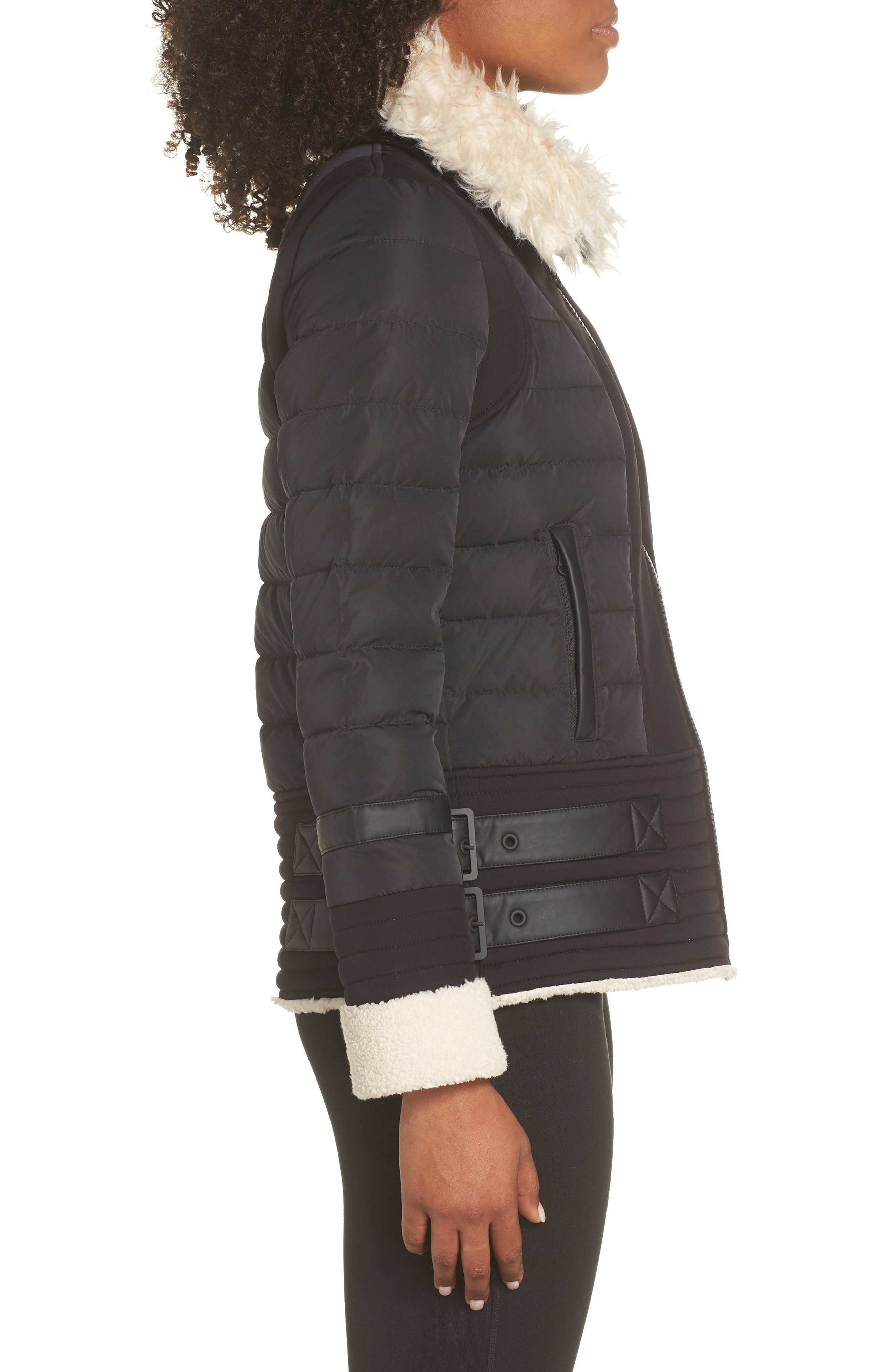 BLANC NOIR,                             Moto Aviator Puffer Jacket,                             Alternate thumbnail 3, color,                             BLACK