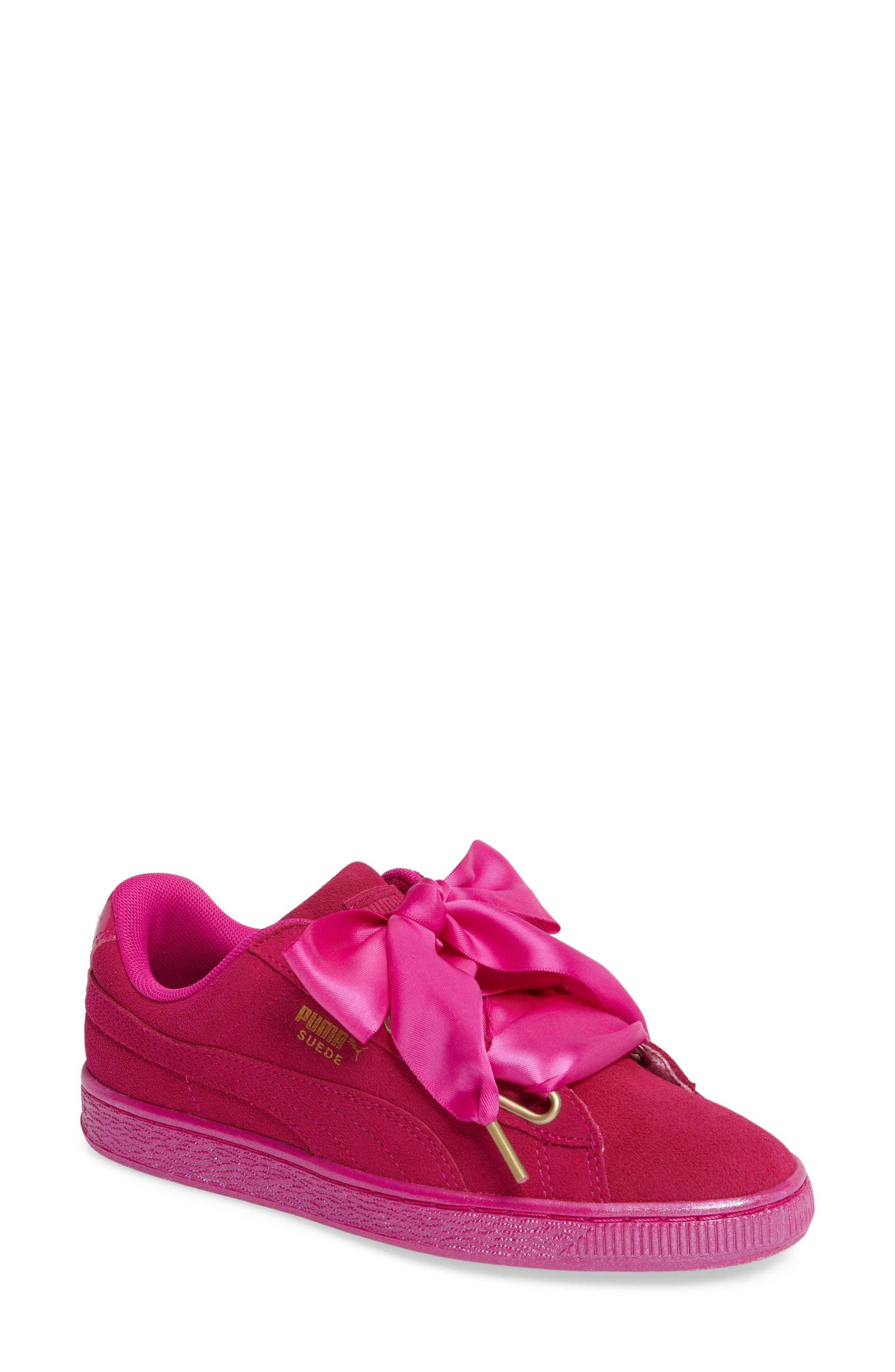 Suede - Heart Sneaker,                             Main thumbnail 7, color,
