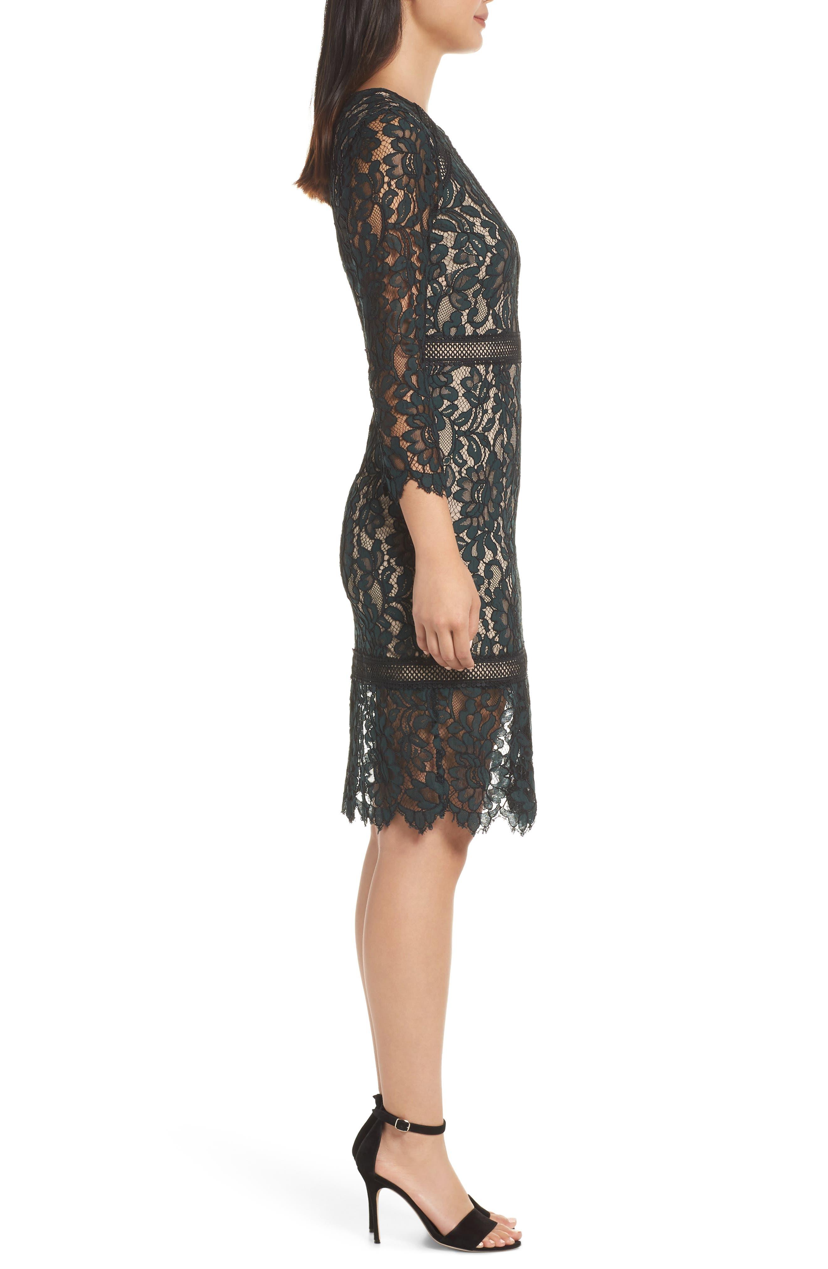 Lace Sheath Dress,                             Alternate thumbnail 3, color,                             GREEN