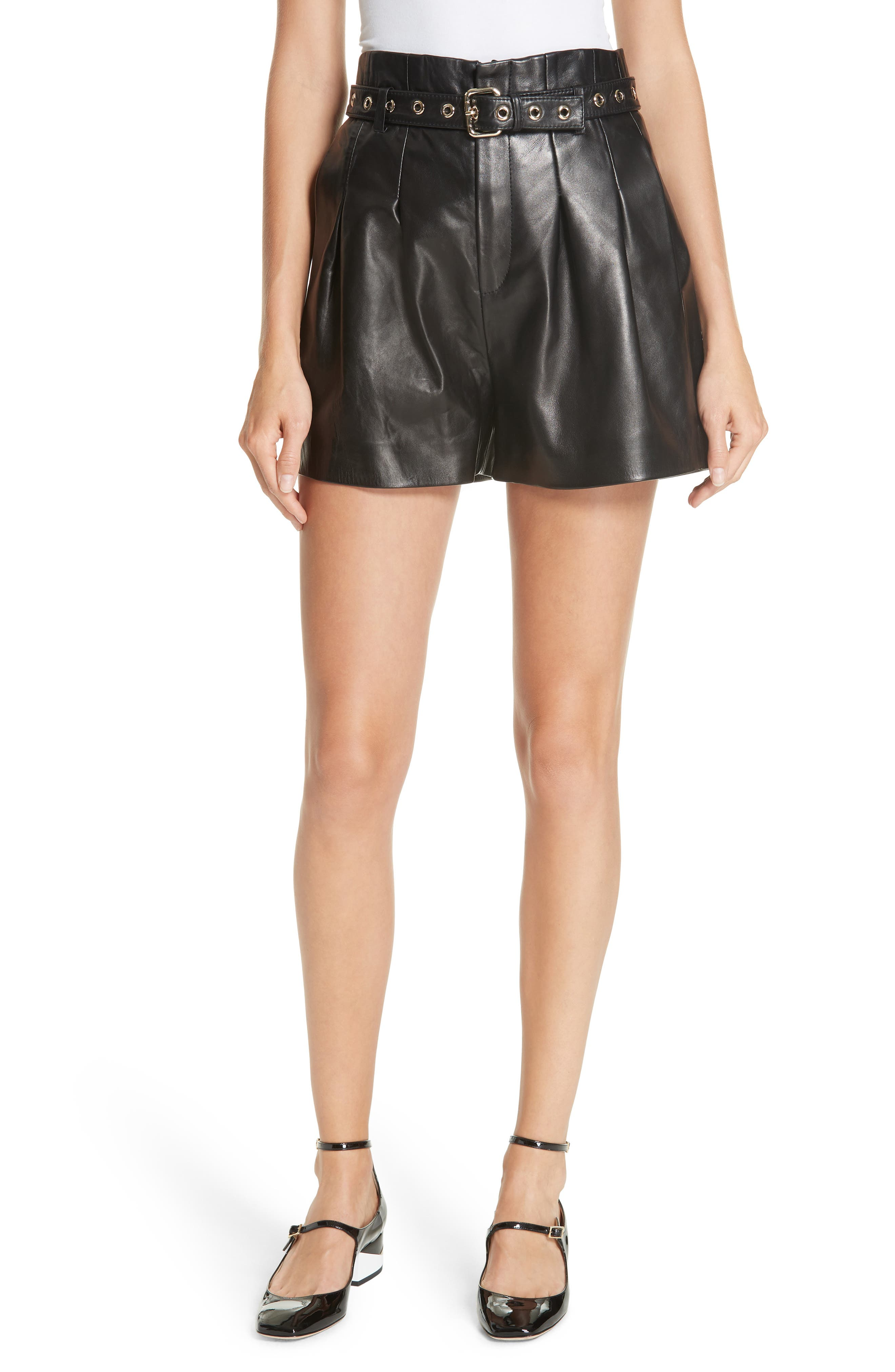 Belted Leather Shorts,                         Main,                         color, BLACK