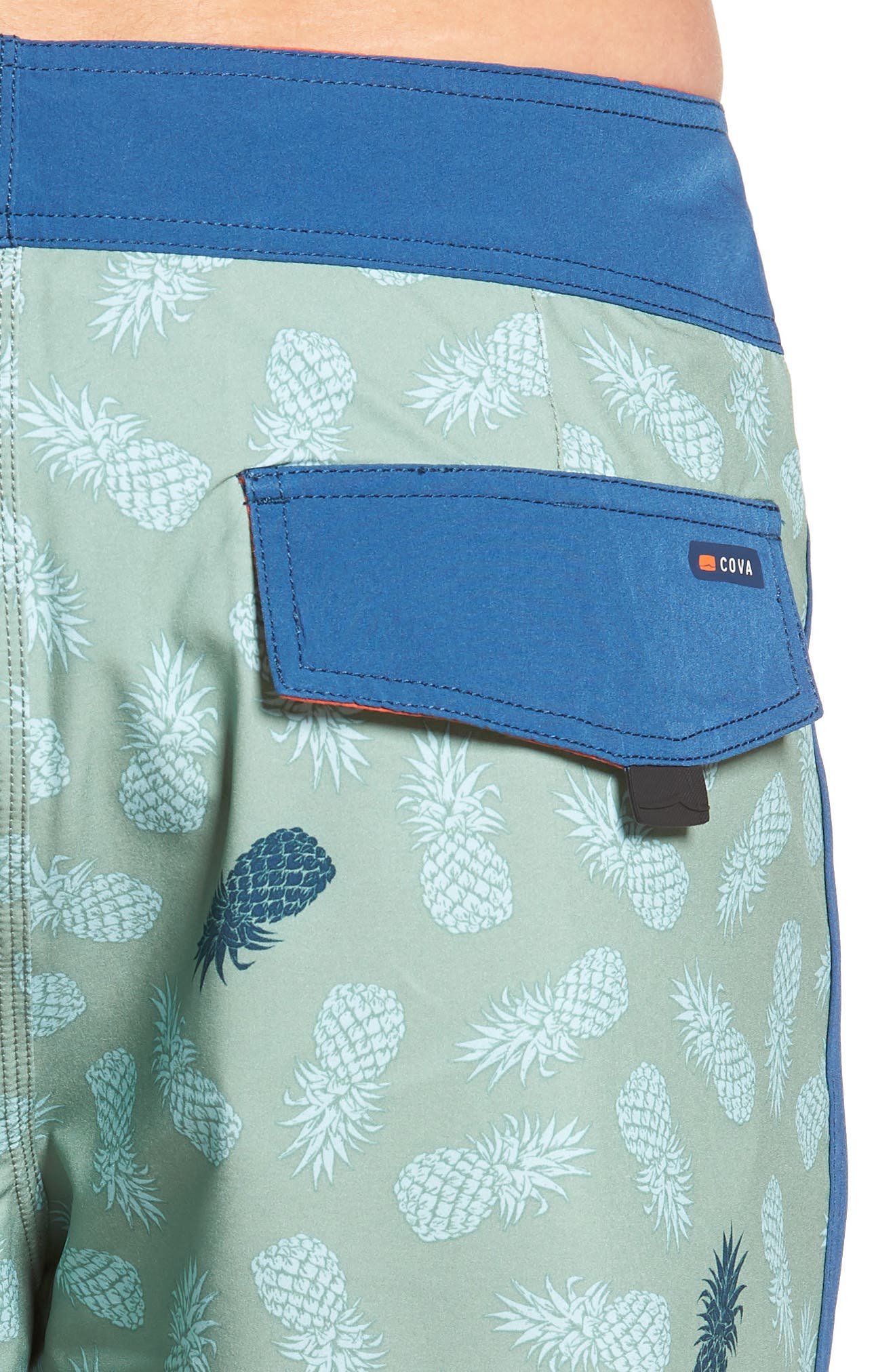 Colada Regular Fit Board Shorts,                             Alternate thumbnail 4, color,                             BASIL GREEN