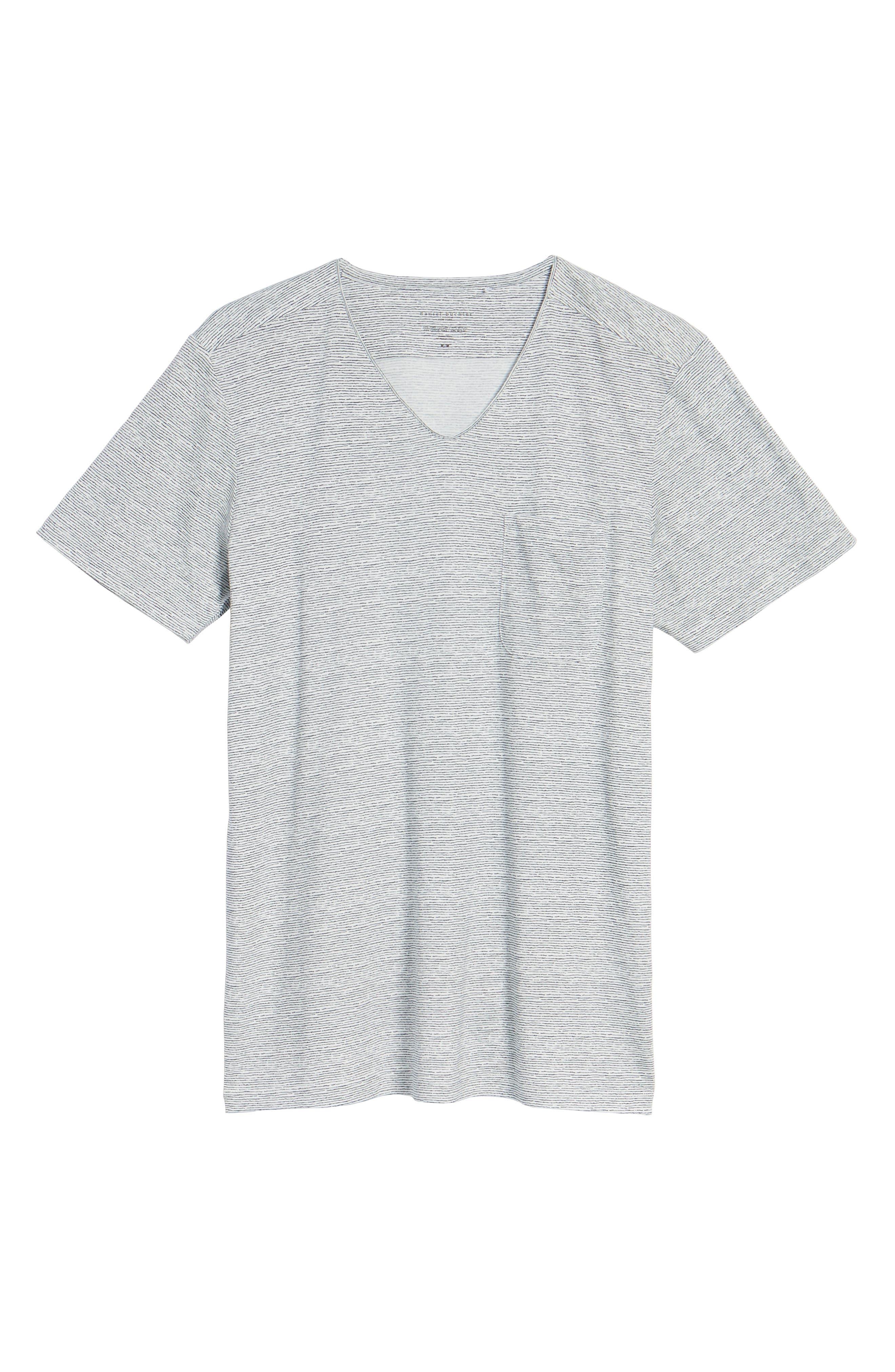 Feeder Stripe Pima Cotton & Modal V-Neck T-Shirt,                             Alternate thumbnail 17, color,