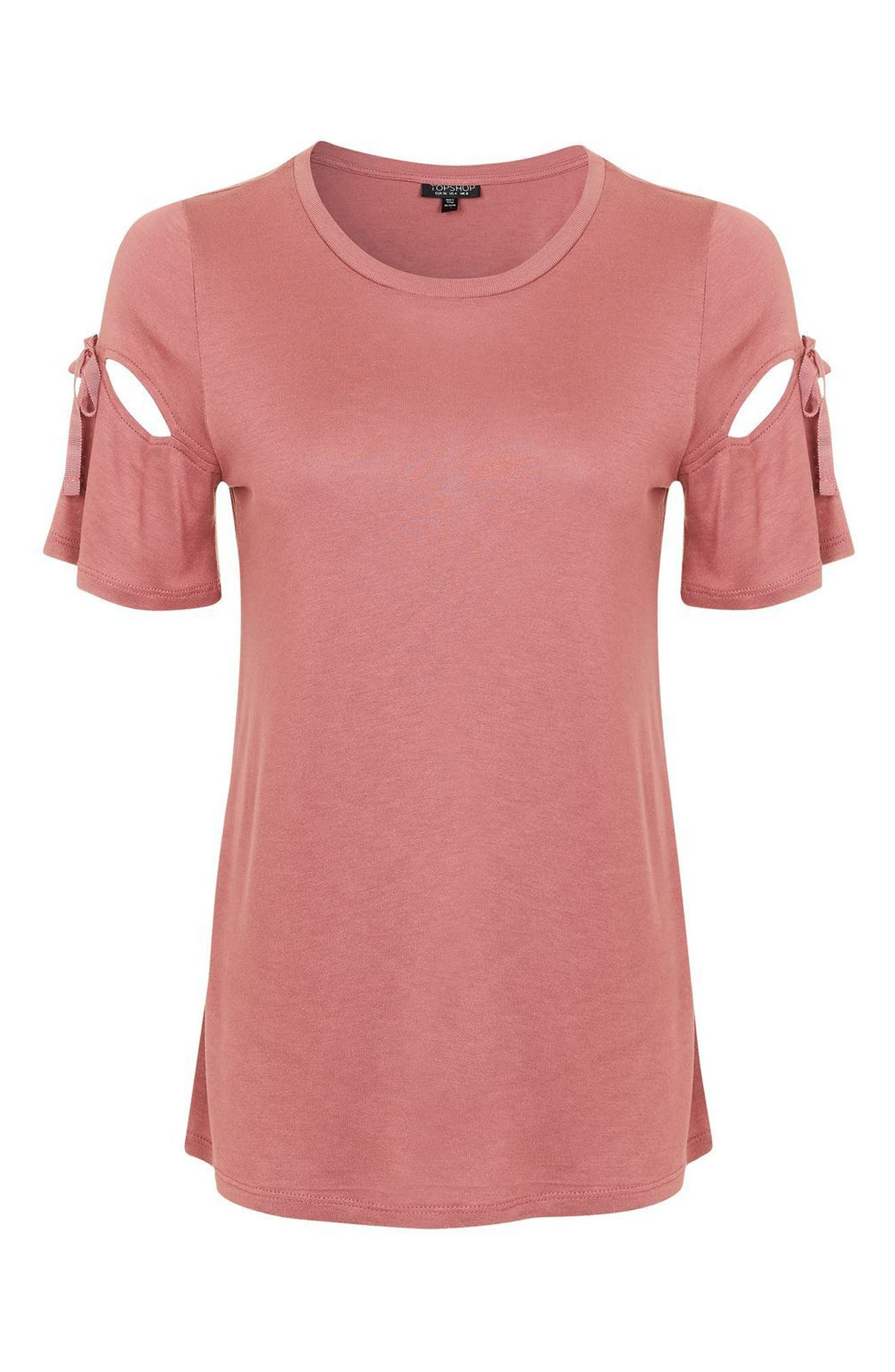 Ribbon Sleeve Tee,                             Alternate thumbnail 9, color,