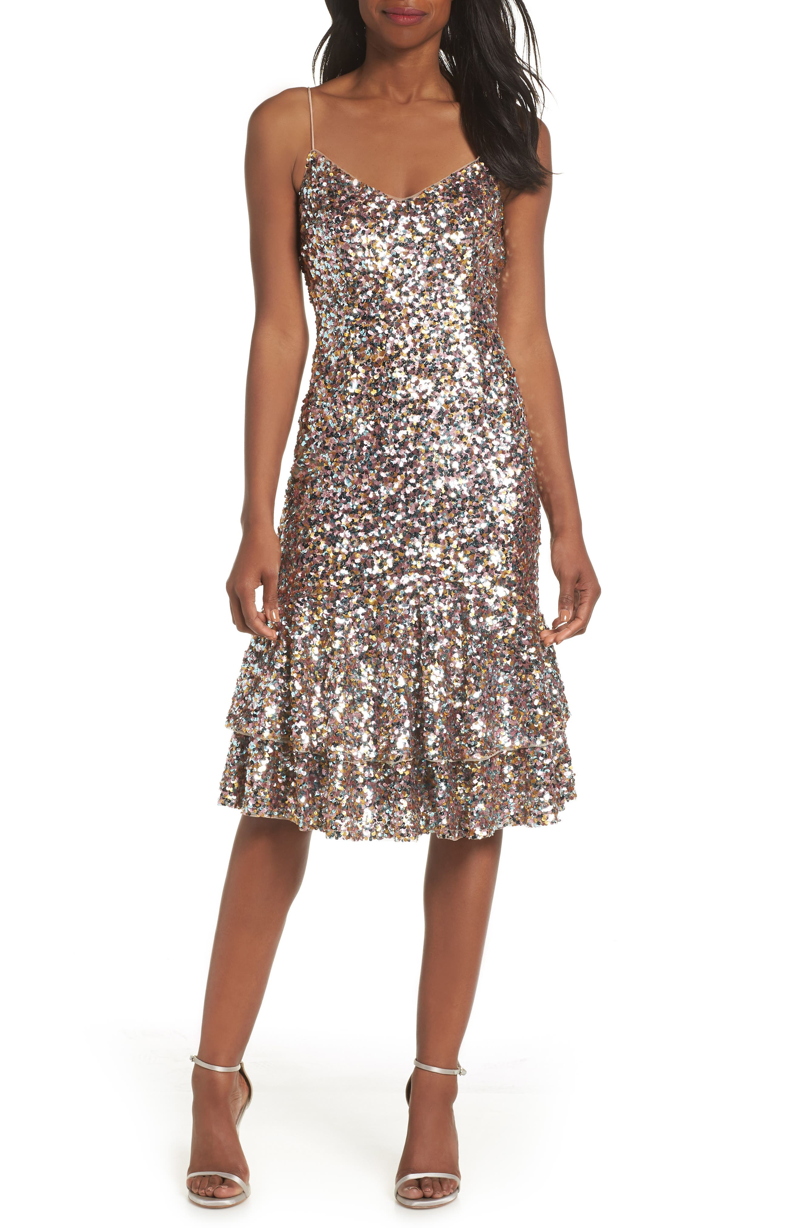 Ruffle Hem Sequin Midi Dress,                             Main thumbnail 1, color,                             PINK MULTI