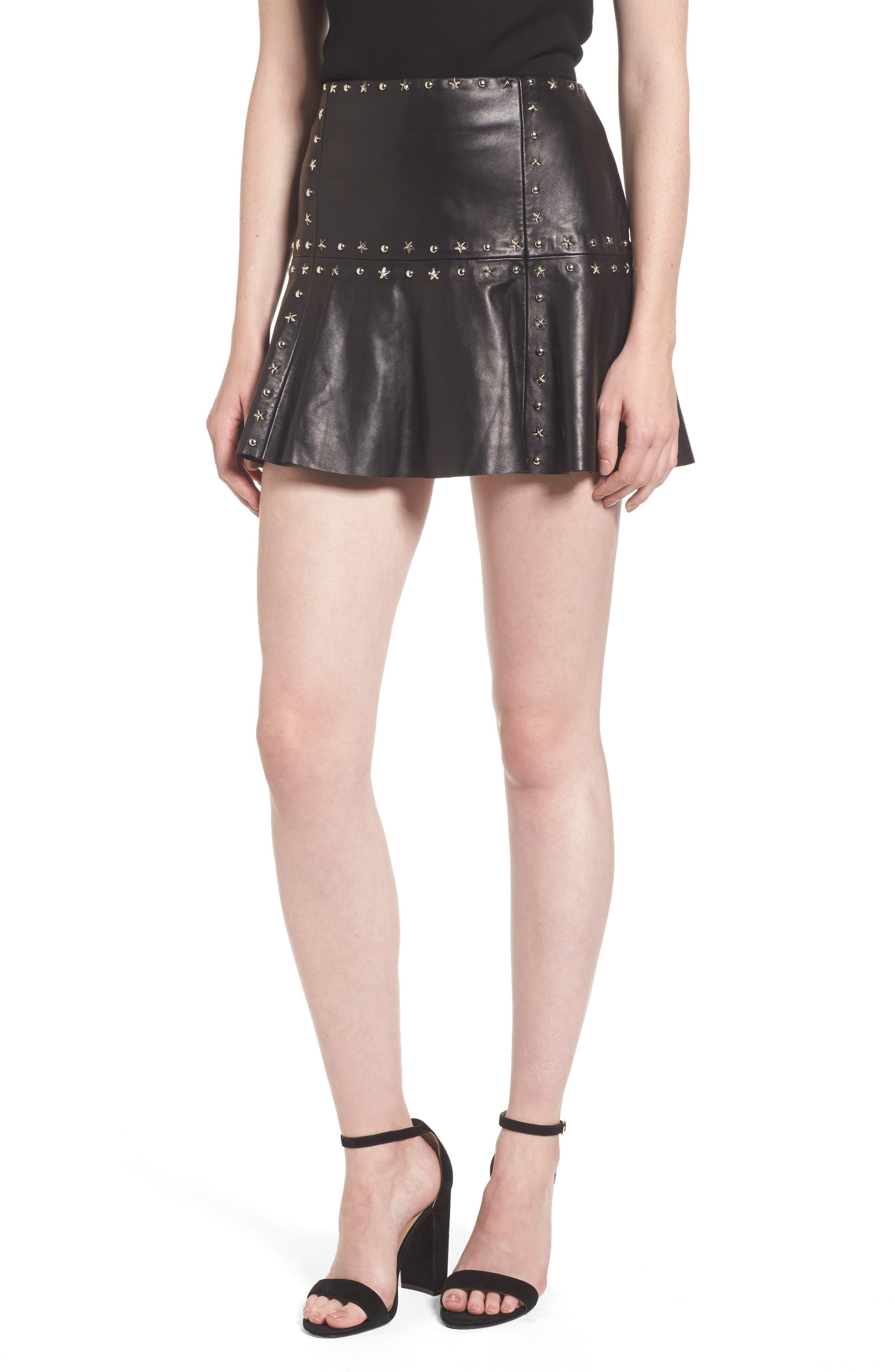 Grommet Suede Miniskirt,                             Main thumbnail 1, color,
