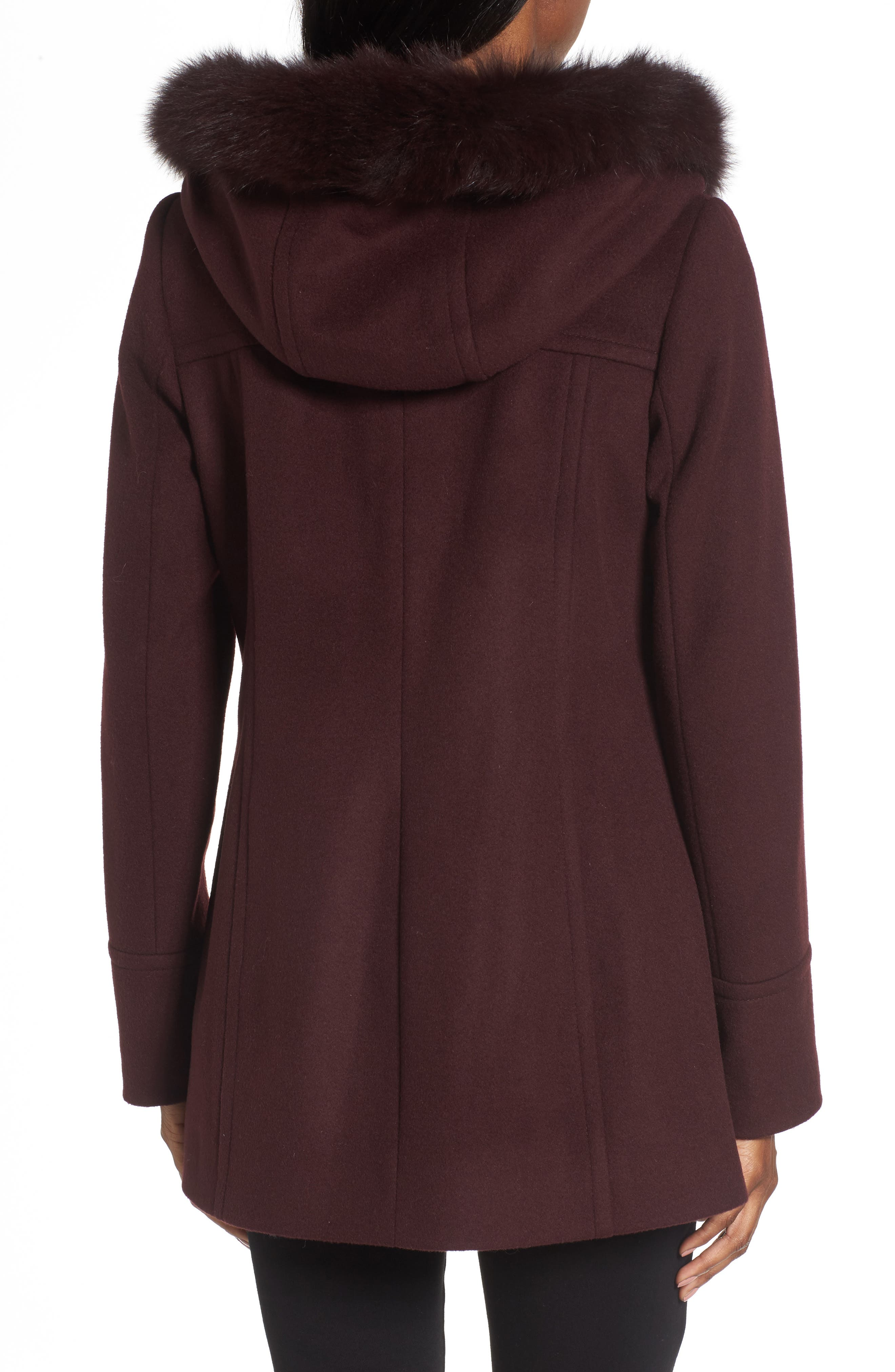 Hooded Wool Blend Coat with Genuine Fox Fur Trim,                             Alternate thumbnail 6, color,