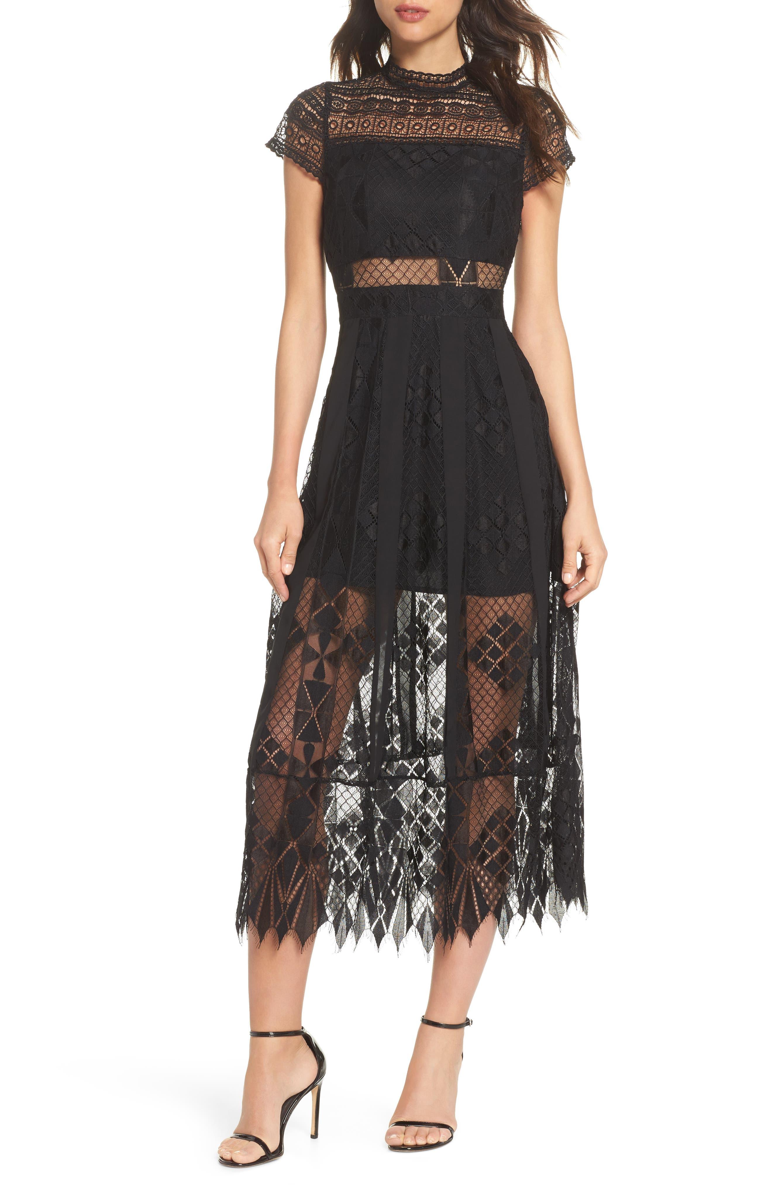 FOXIEDOX,                             Calla Lace Midi Dress,                             Main thumbnail 1, color,                             001