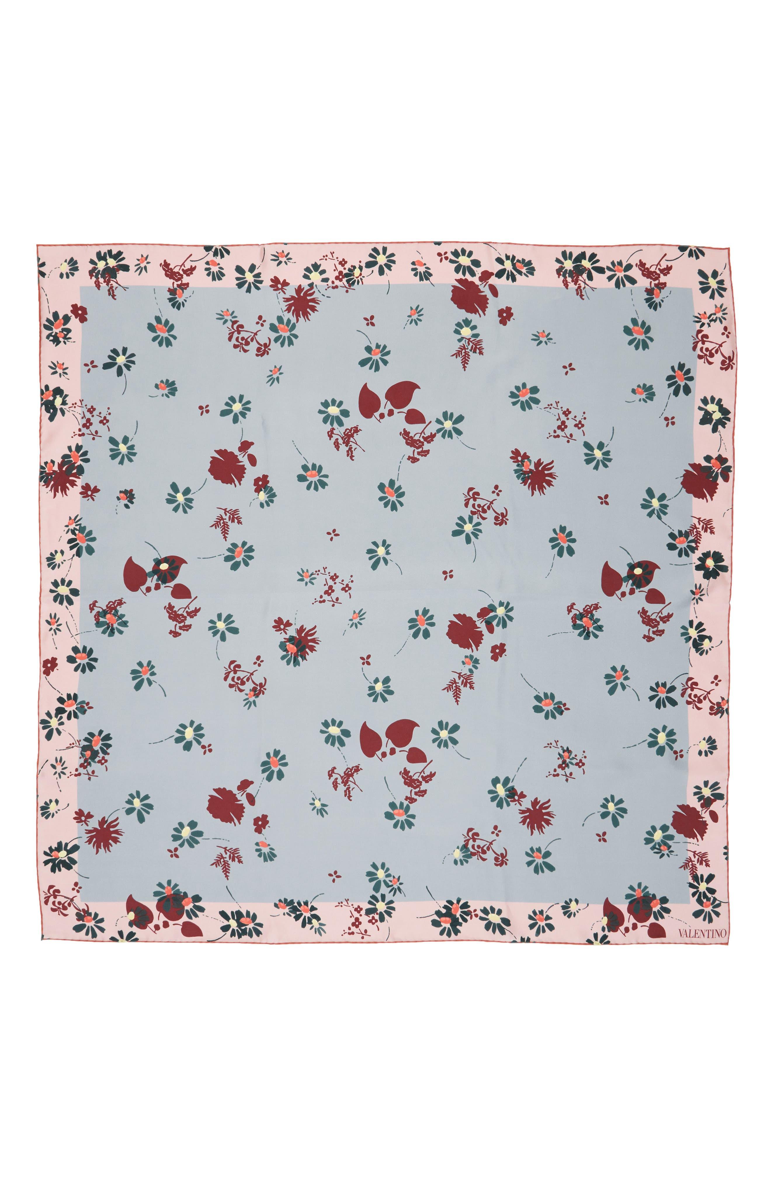Flowers Fall Silk Scarf,                         Main,                         color, 400