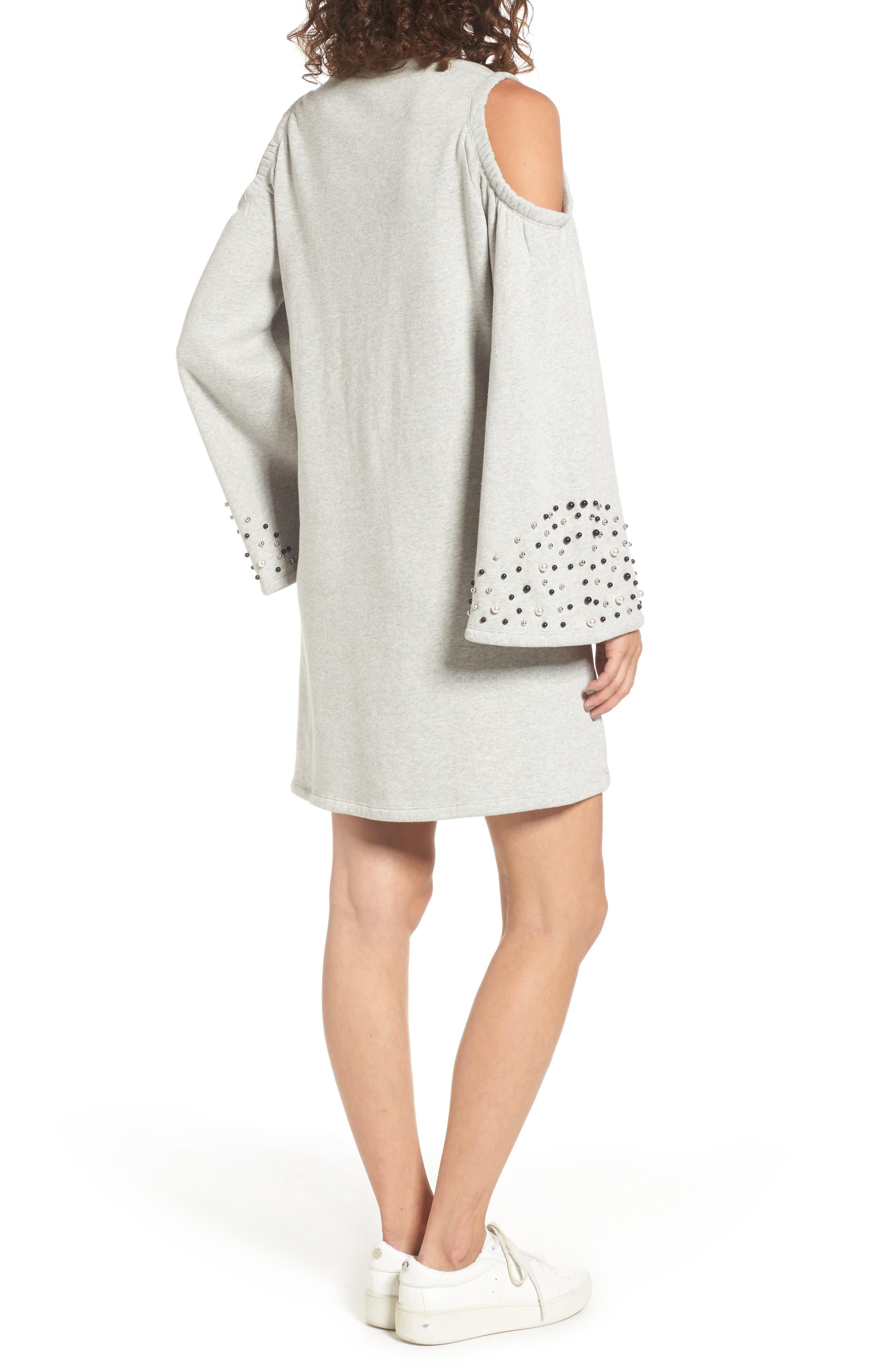 Embellished Cold Shoulder Sweatshirt Dress,                             Alternate thumbnail 4, color,