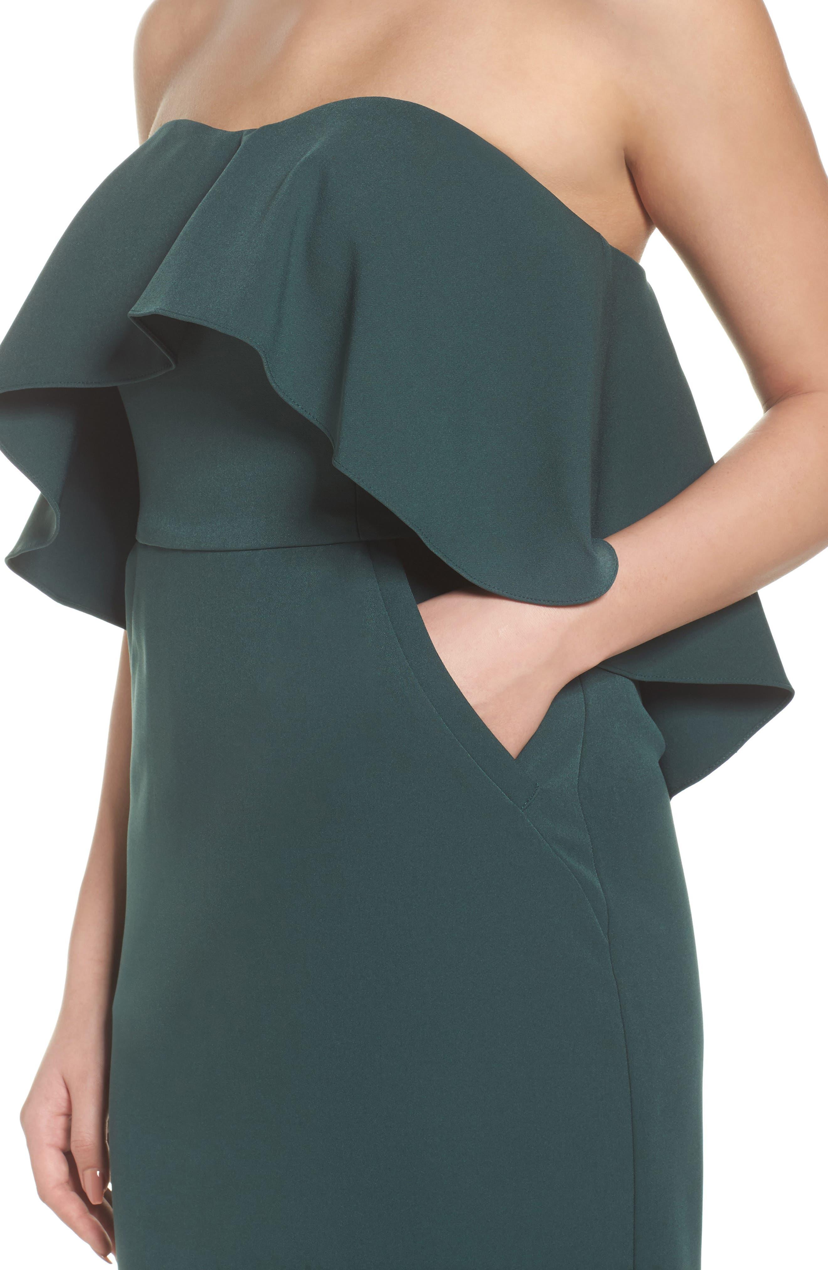 Ruffle Stretch Crepe Sheath Dress,                             Alternate thumbnail 20, color,