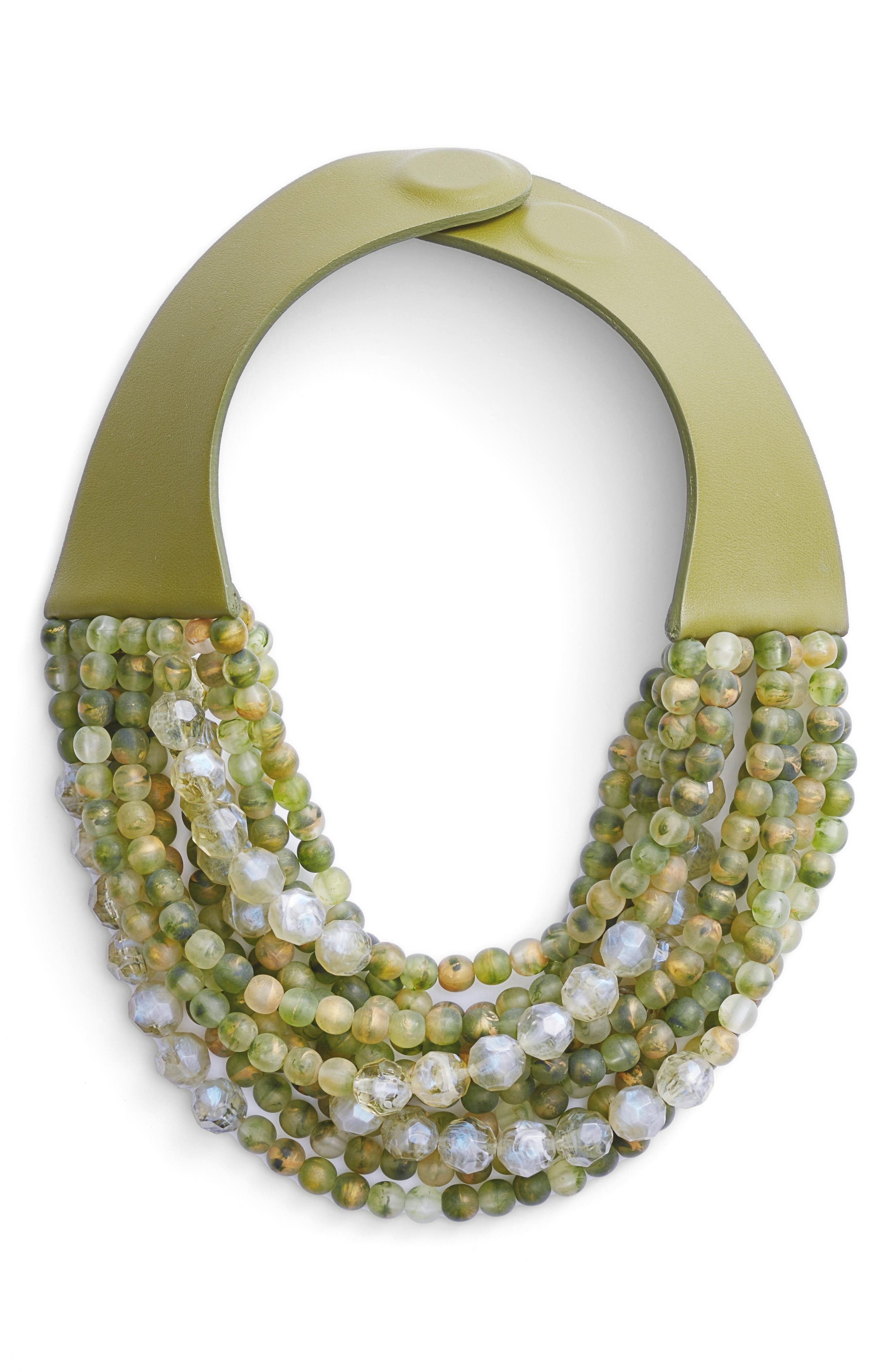 Farichild Baldwin Marcella Beaded Collar Necklace,                         Main,                         color, GREEN APPLE