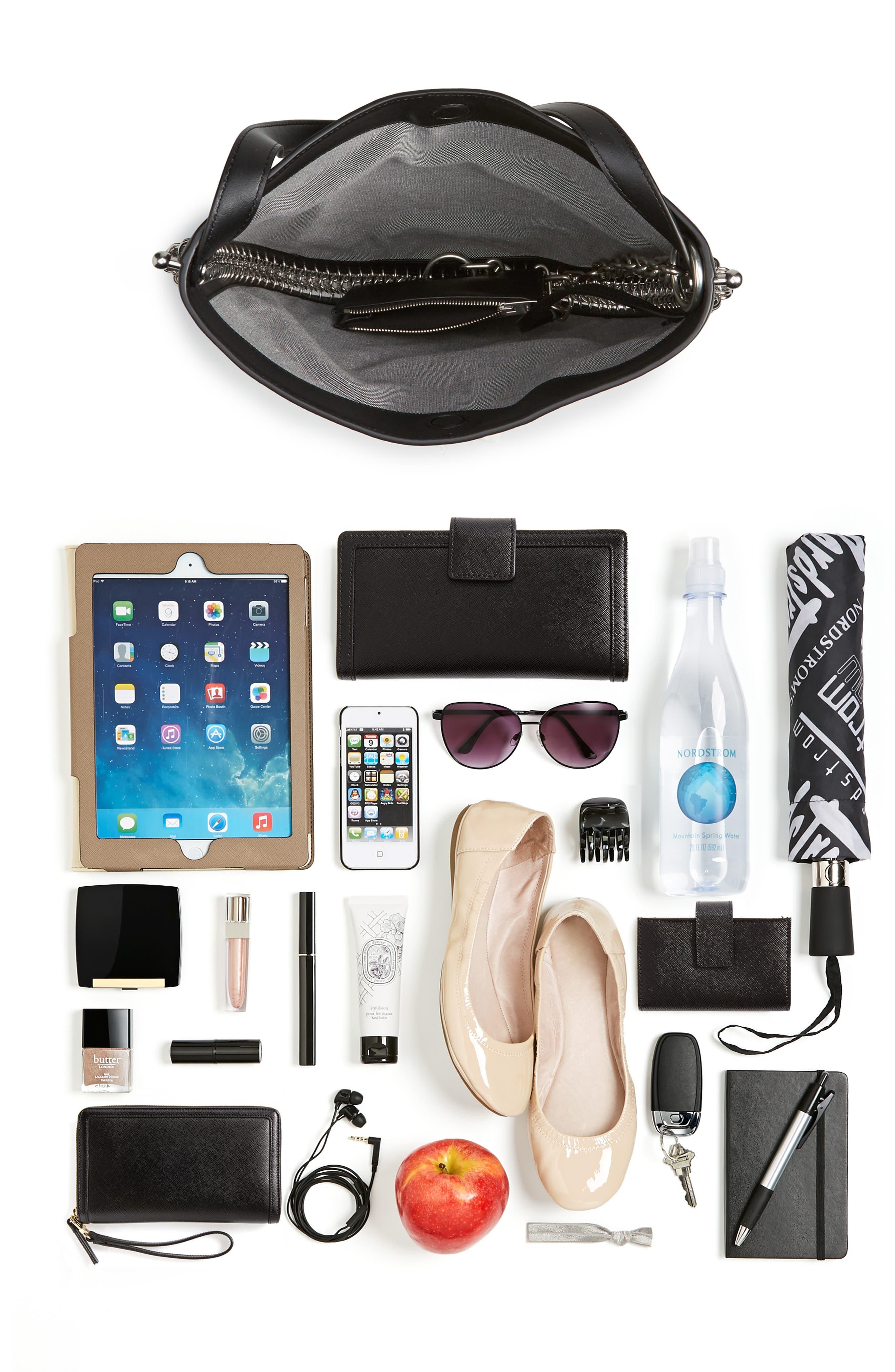 Roxy Studded Leather Hobo Bag,                             Alternate thumbnail 7, color,                             001