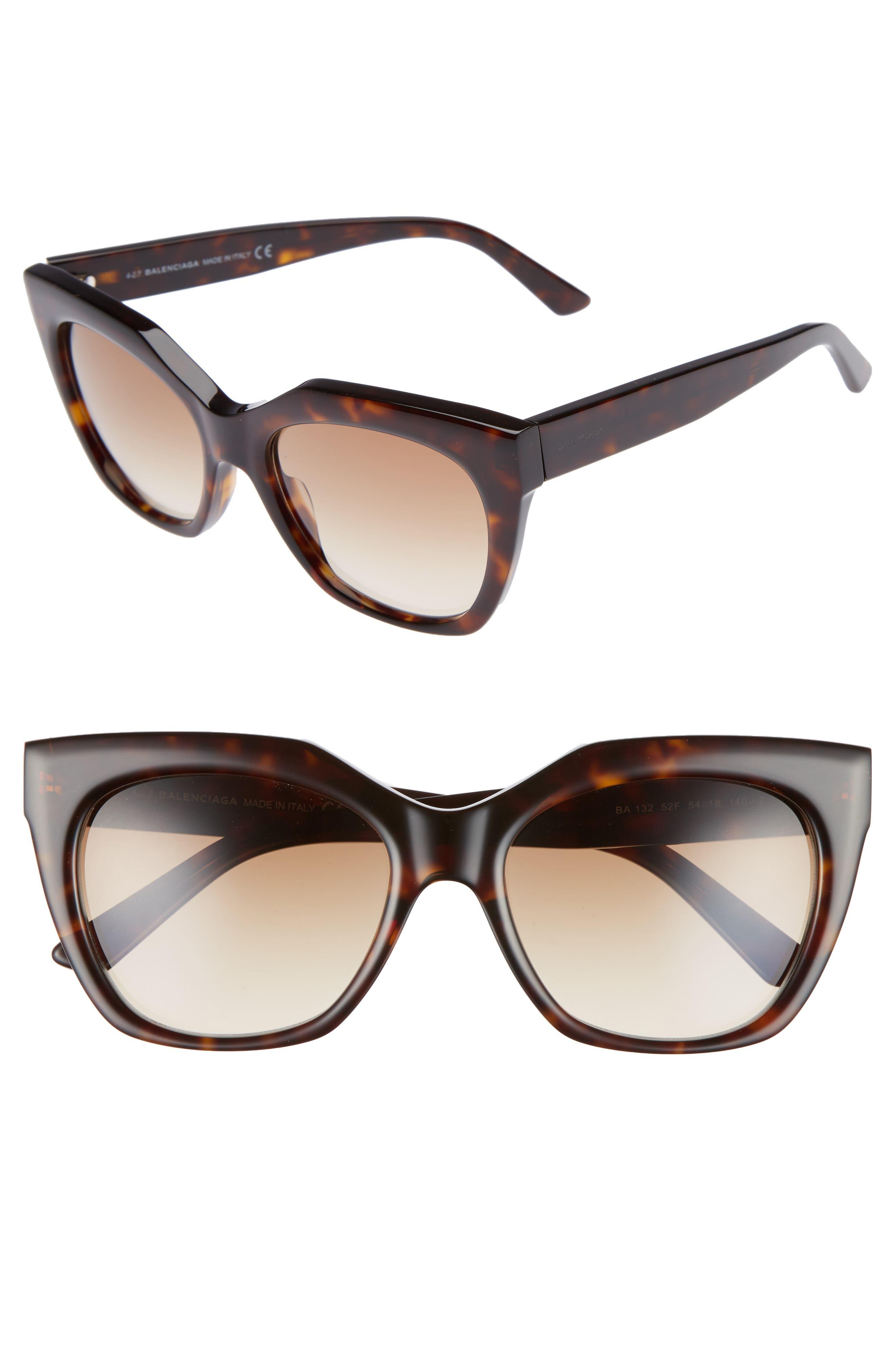 54mm Cat Eye Sunglasses,                             Main thumbnail 1, color,                             DARK HAVANA/ GRADIENT BROWN