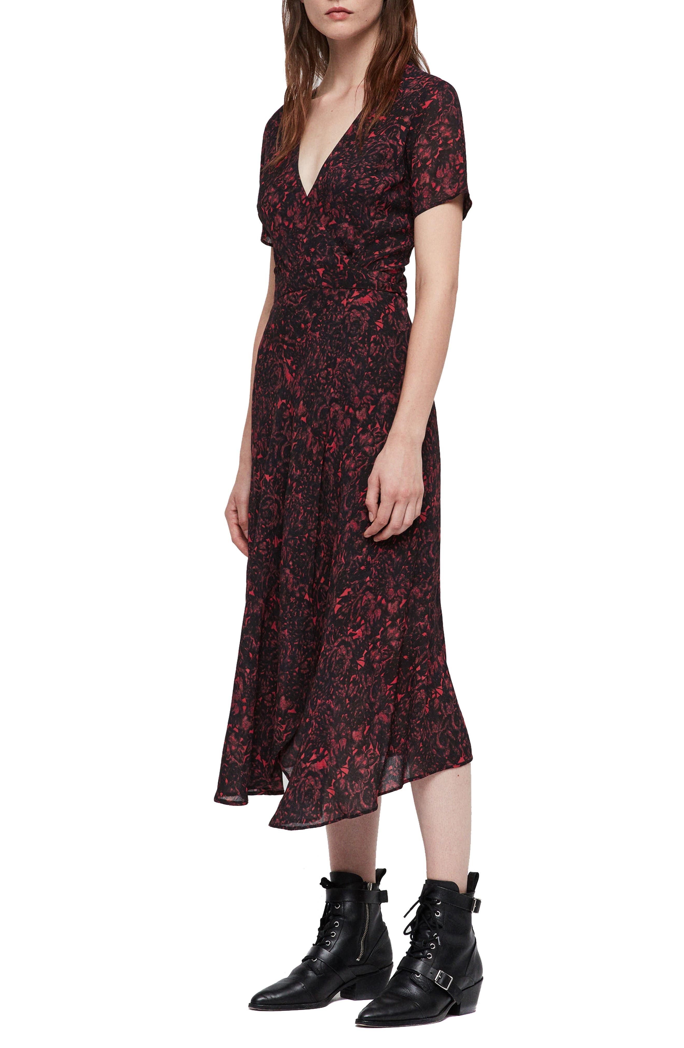 ALLSAINTS,                             Seeta Rosey Midi Dress,                             Alternate thumbnail 3, color,                             622