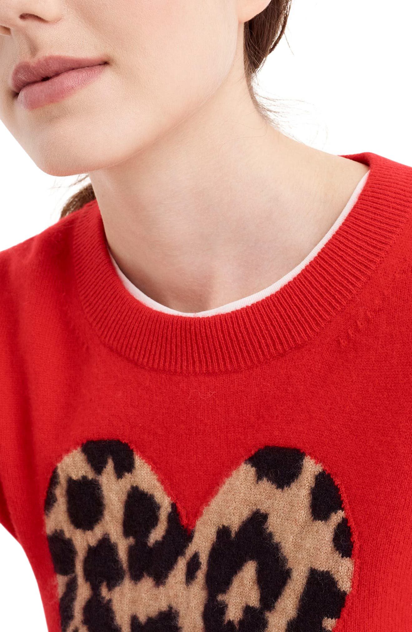 Leopard Heart Everyday Cashmere Sweater,                             Alternate thumbnail 5, color,                             600