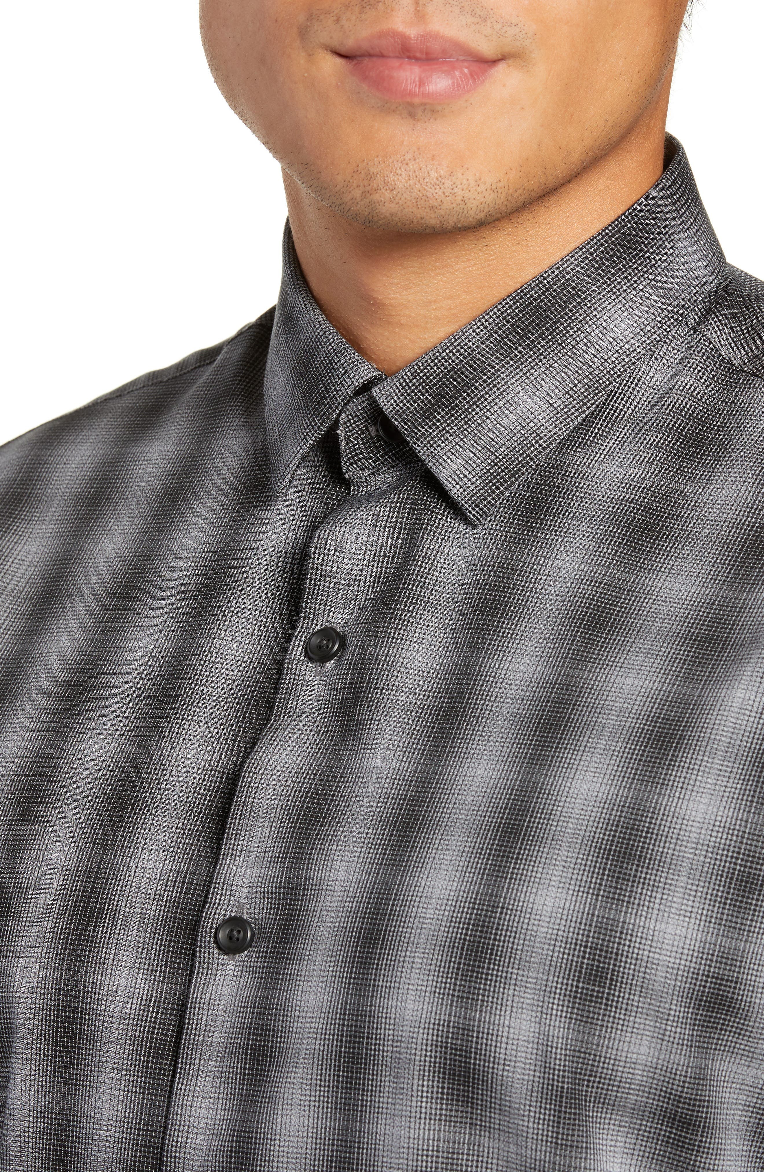 Mini Collar Nep Plaid Sport Shirt,                             Alternate thumbnail 2, color,                             BLACK GREY SHADOW PLAID