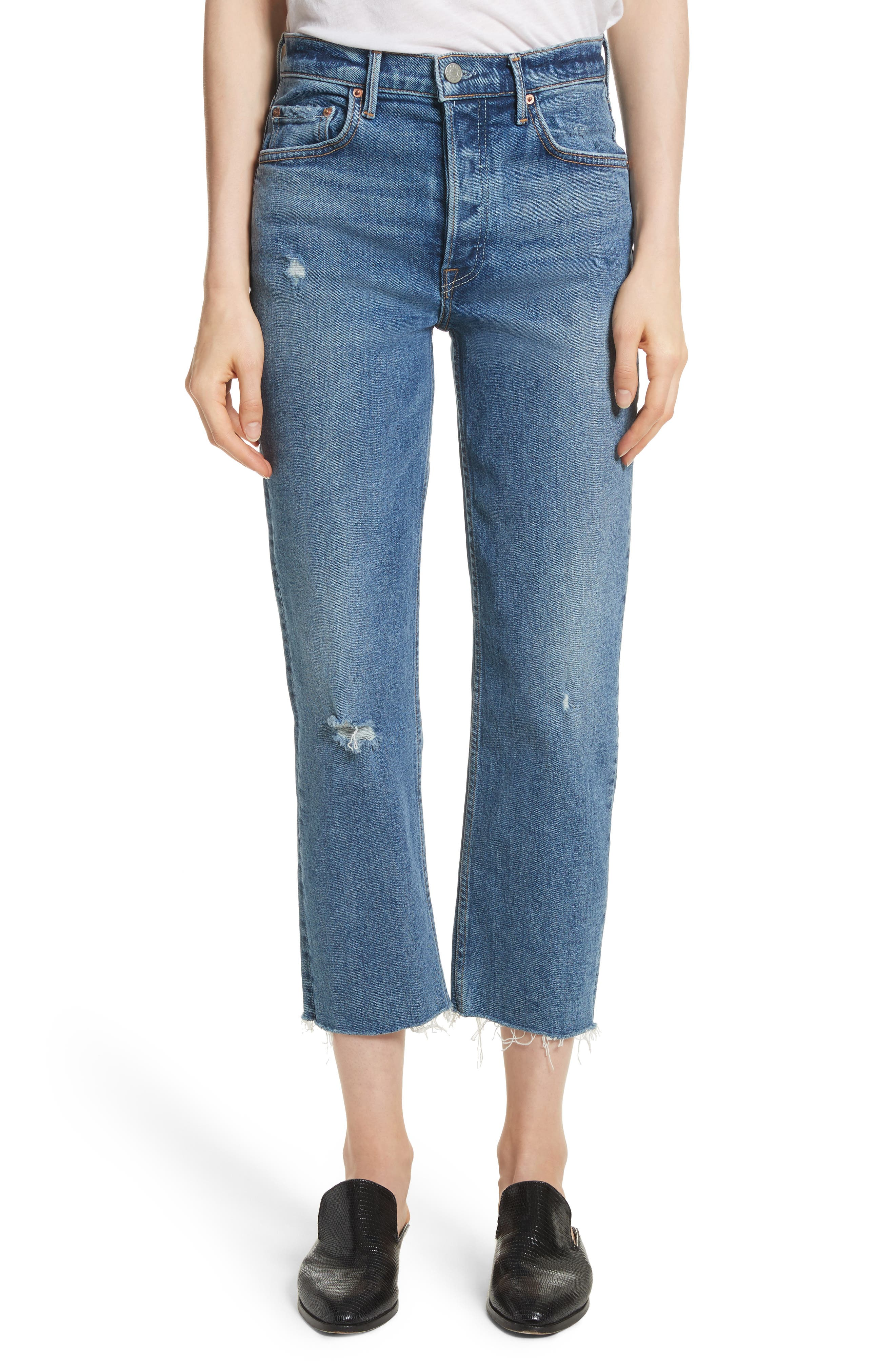 Helena Distressed Rigid High Waist Straight Jeans,                         Main,                         color, 470