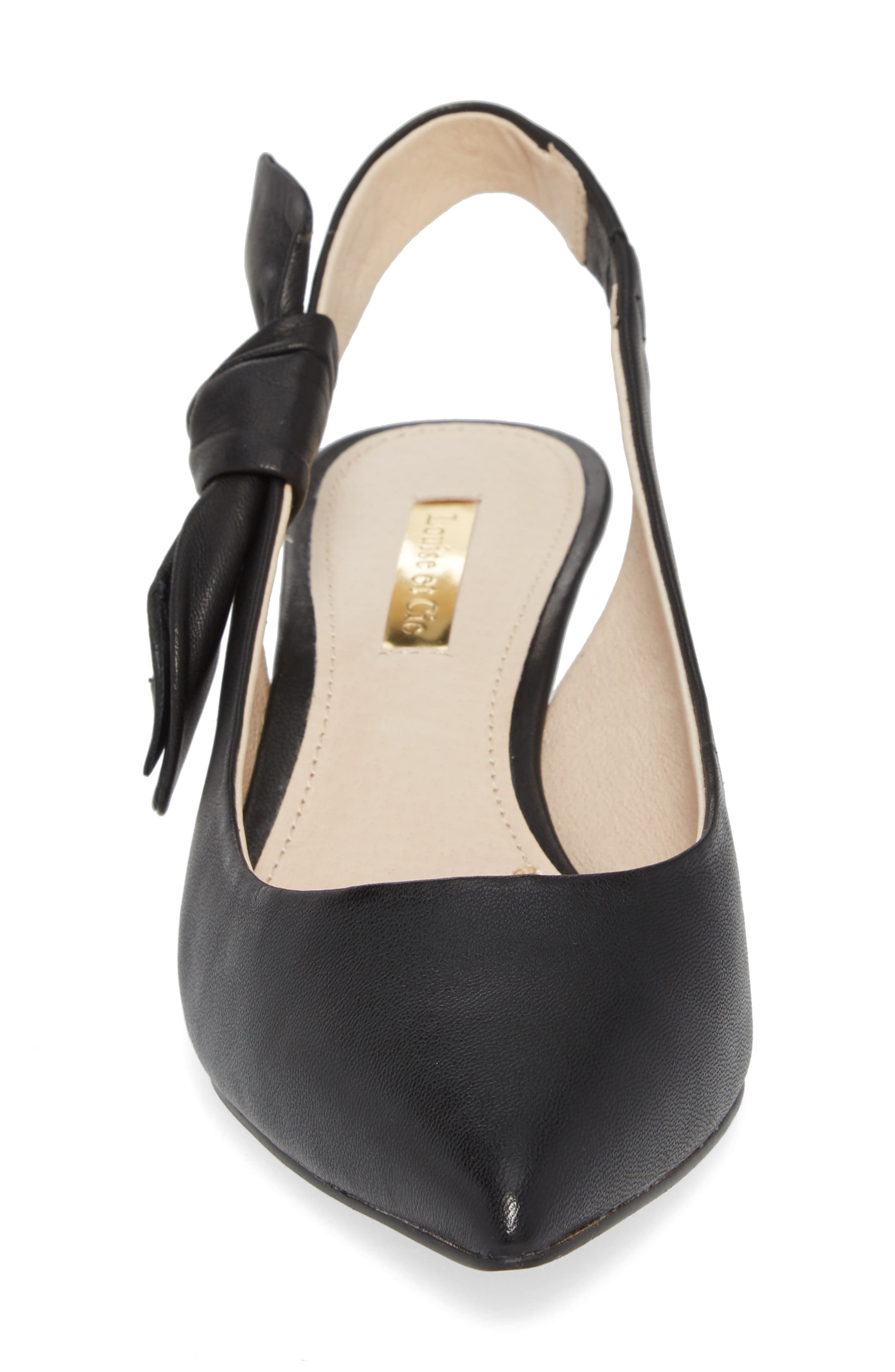 Jasilen Slingback Pump,                             Alternate thumbnail 4, color,                             BLACK LEATHER