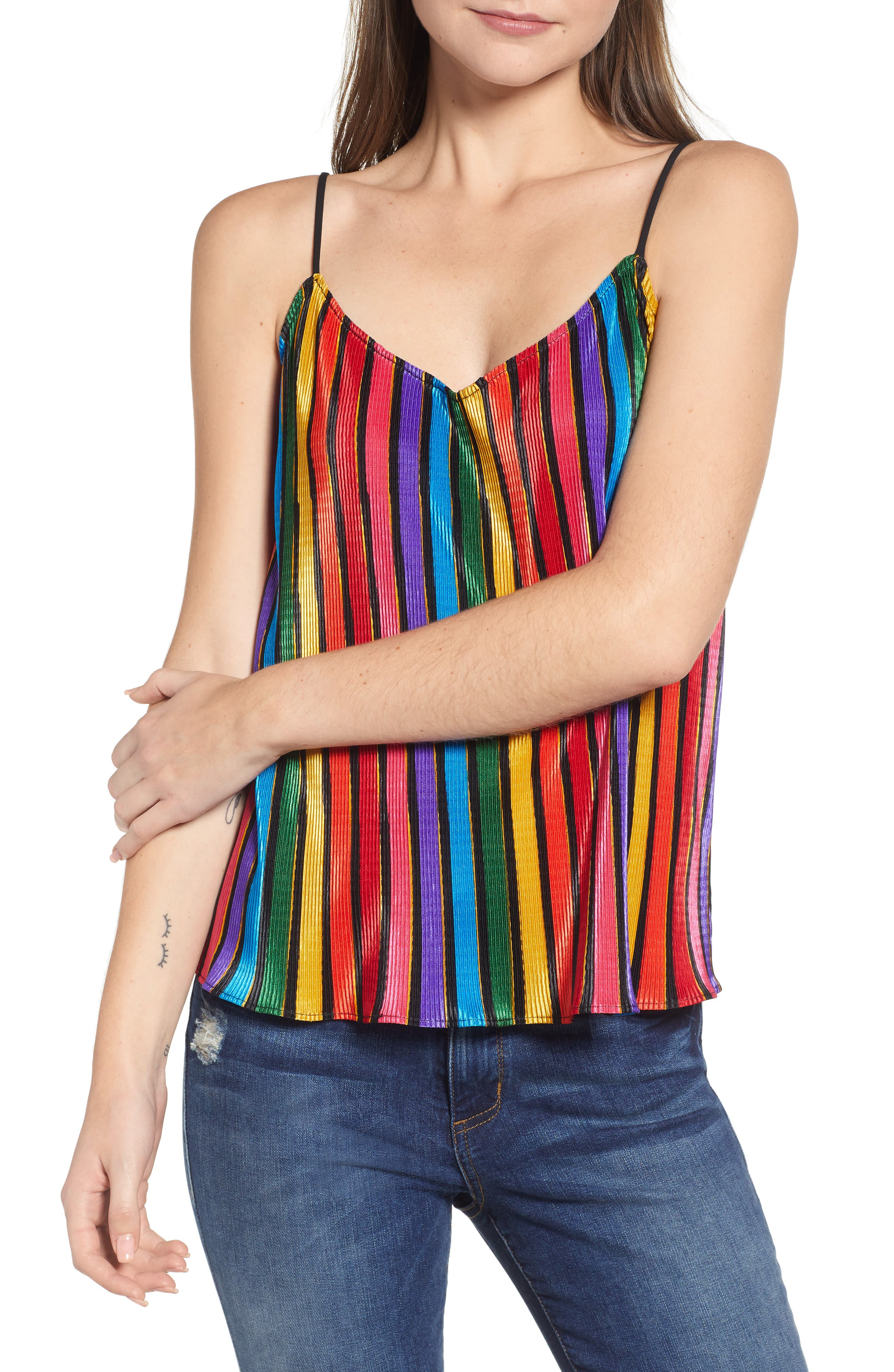 Show Me Your Mumu Rainbow Parade Pleat Camisole, Red