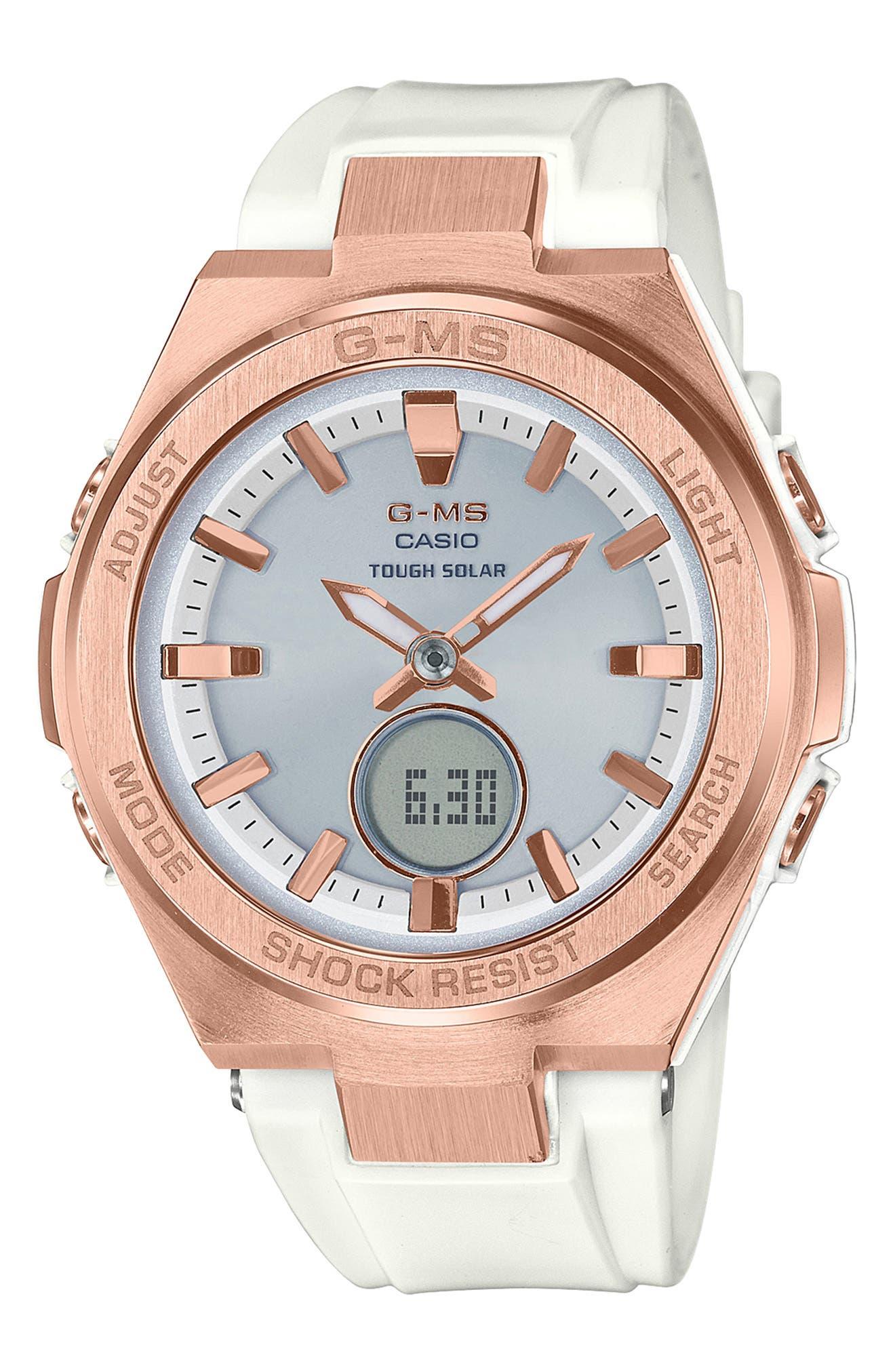 G-Shock G-MS Ana-Digi Resin Strap Watch, 38mm,                             Main thumbnail 1, color,                             WHITE/ GREY/ ROSE GOLD