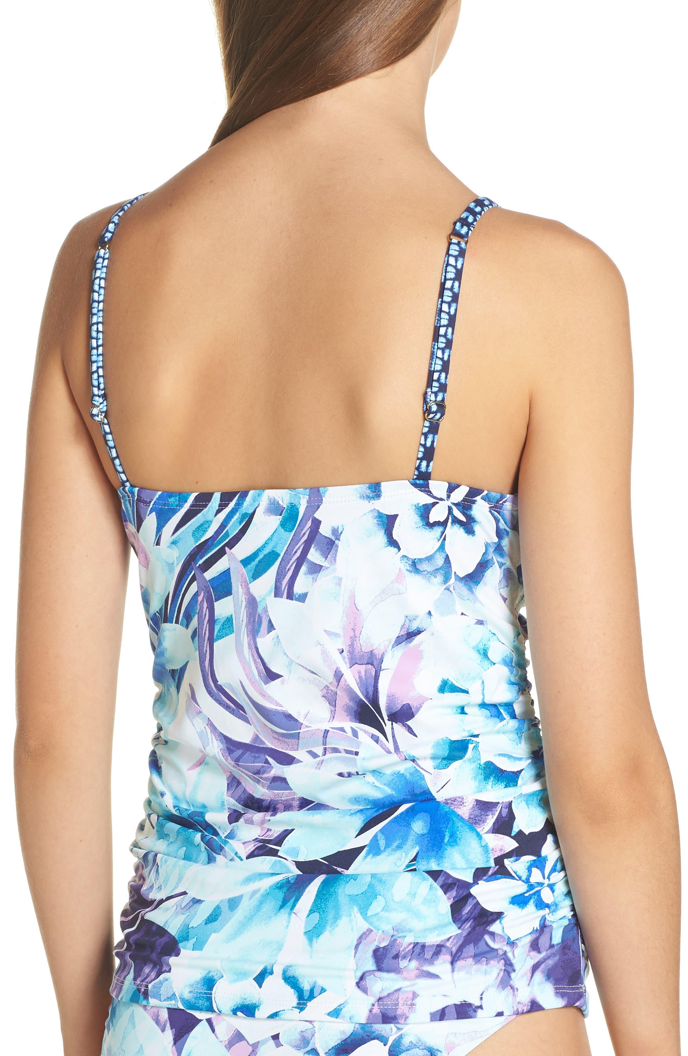 Aqua Petals Tankini Top,                             Alternate thumbnail 2, color,                             WHITE
