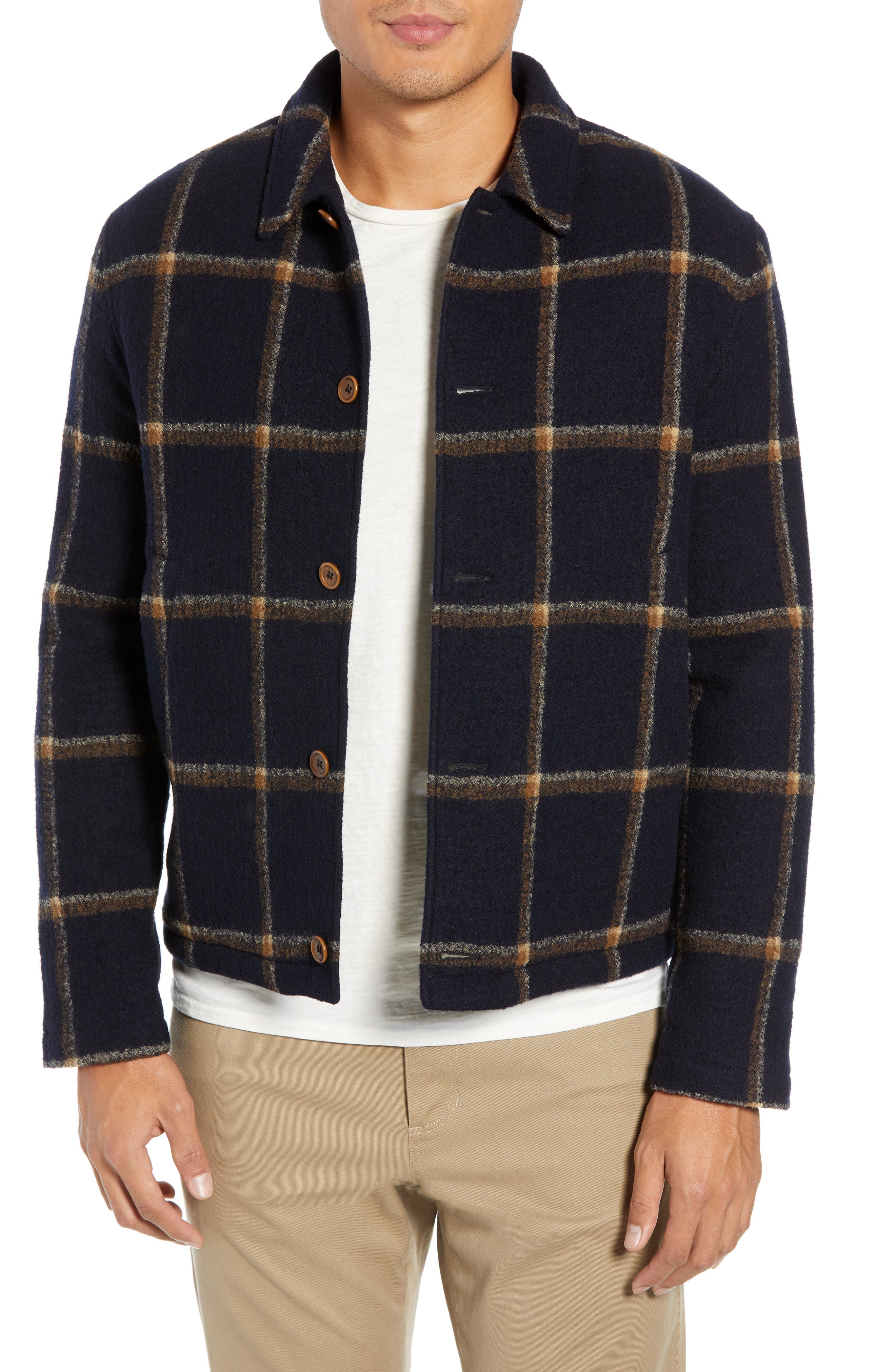 Regular Fit Faux Shearling Lined Check Wool Groundhog Jacket, Main, color, NAVY