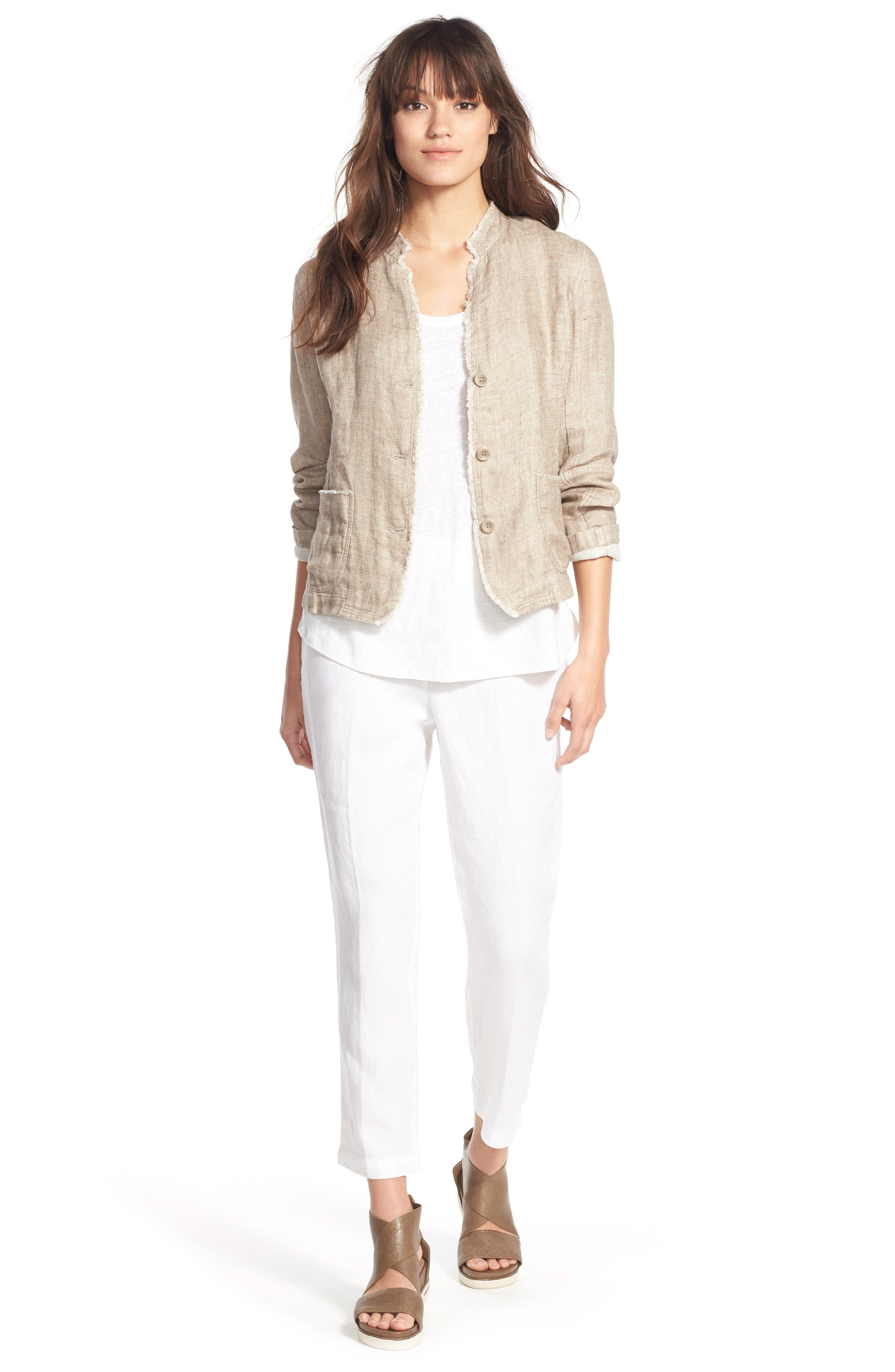 Organic Linen Crop Pants,                         Main,                         color, 100
