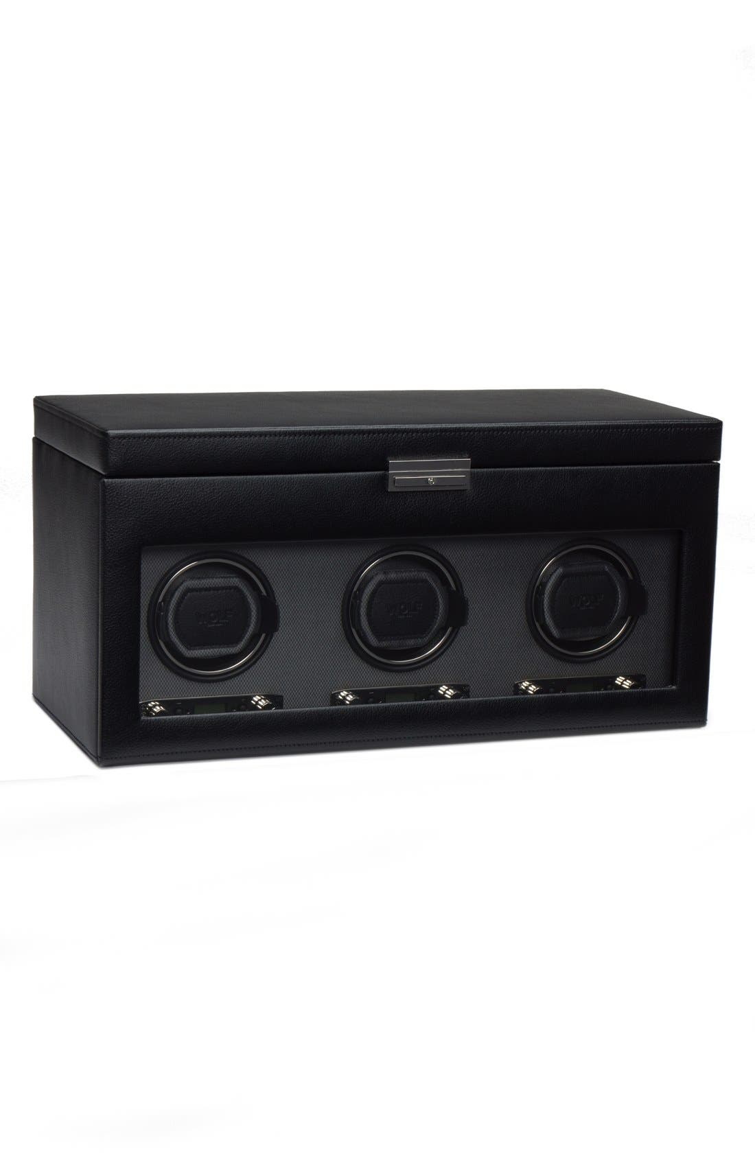 Viceroy Triple Watch Winder & Case,                         Main,                         color, BLACK