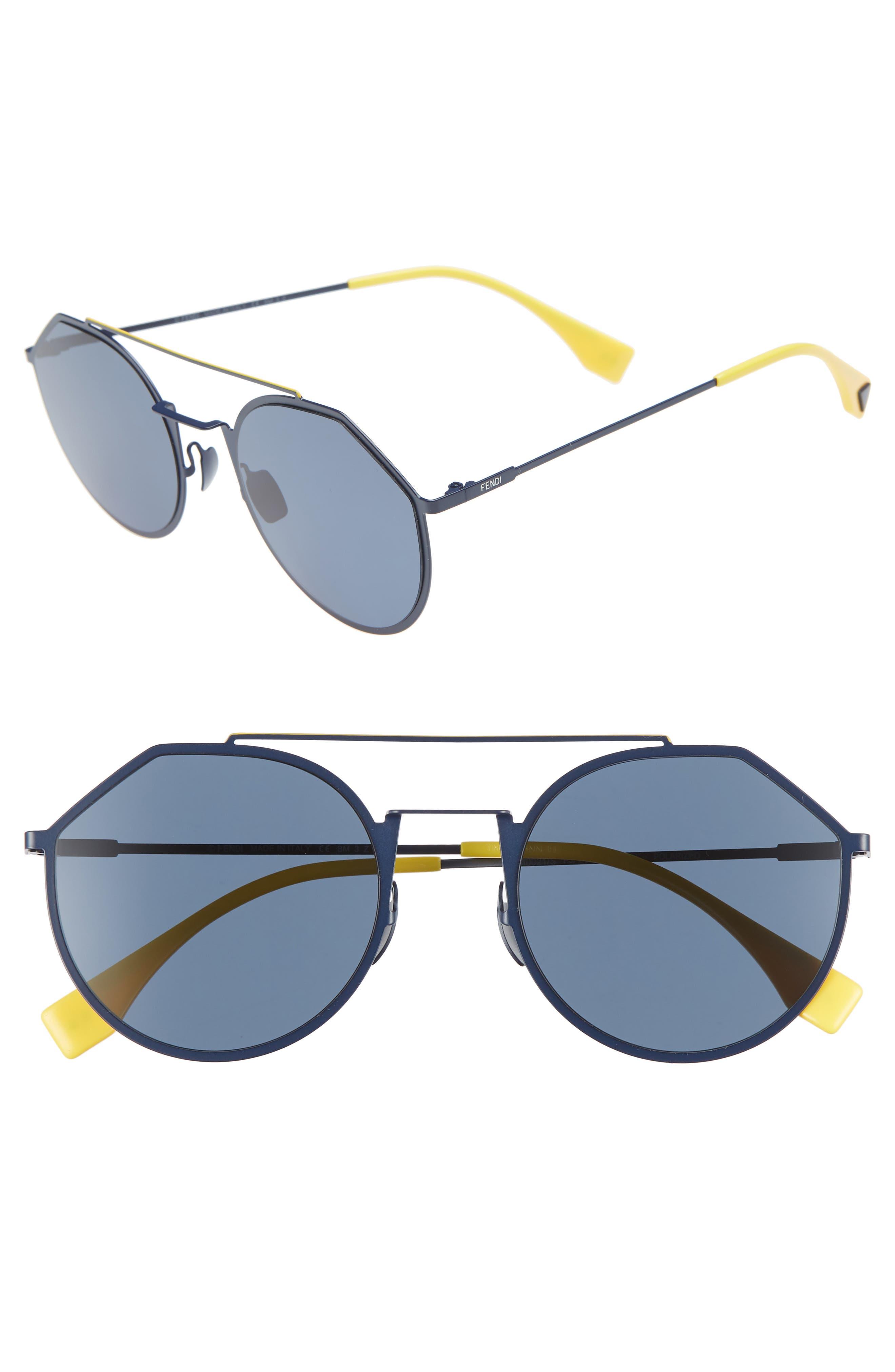 54mm Polarized Round Sunglasses,                             Main thumbnail 1, color,                             BLUE