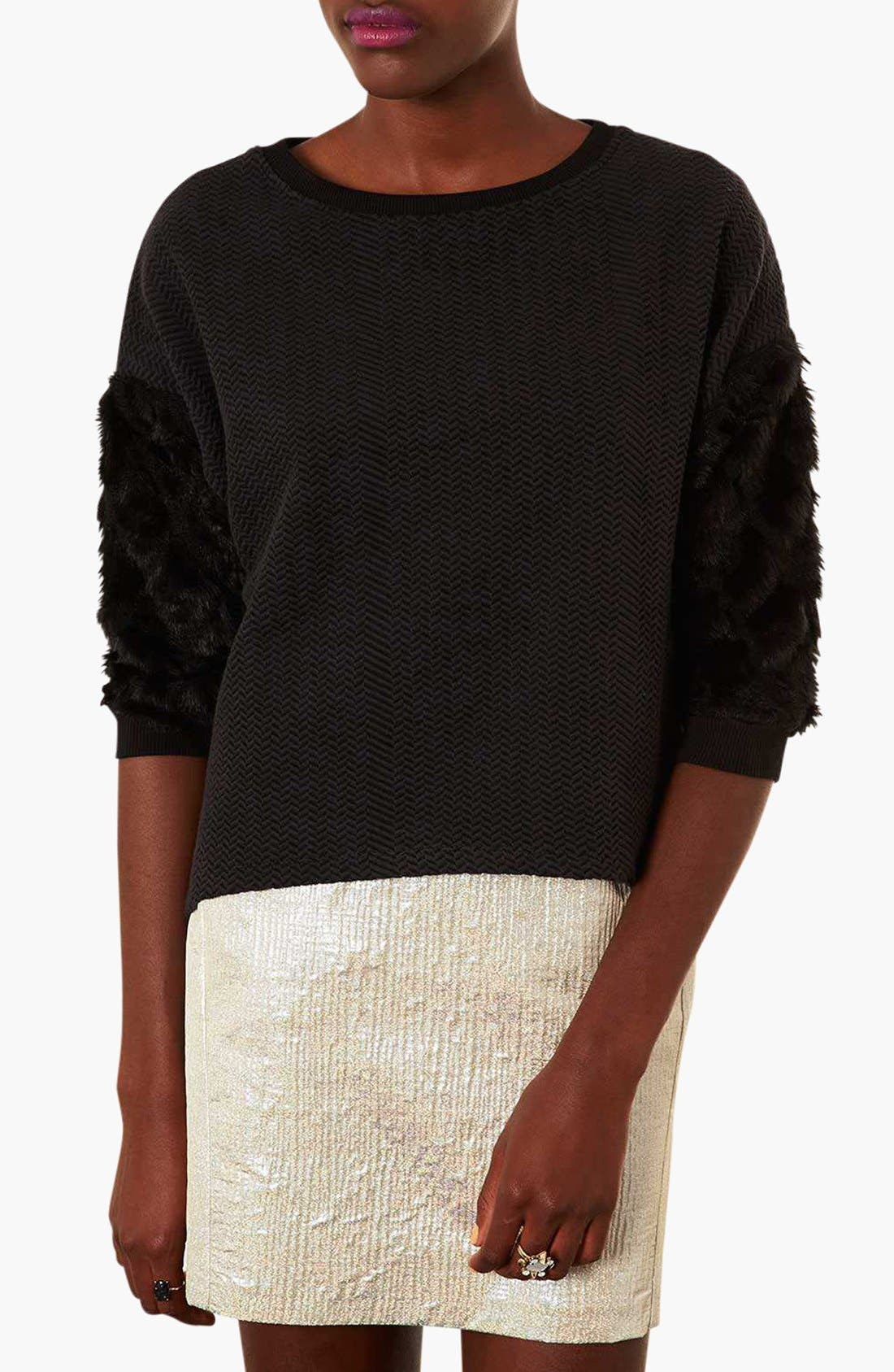 Faux Fur Sleeve Sweatshirt, Main, color, 001